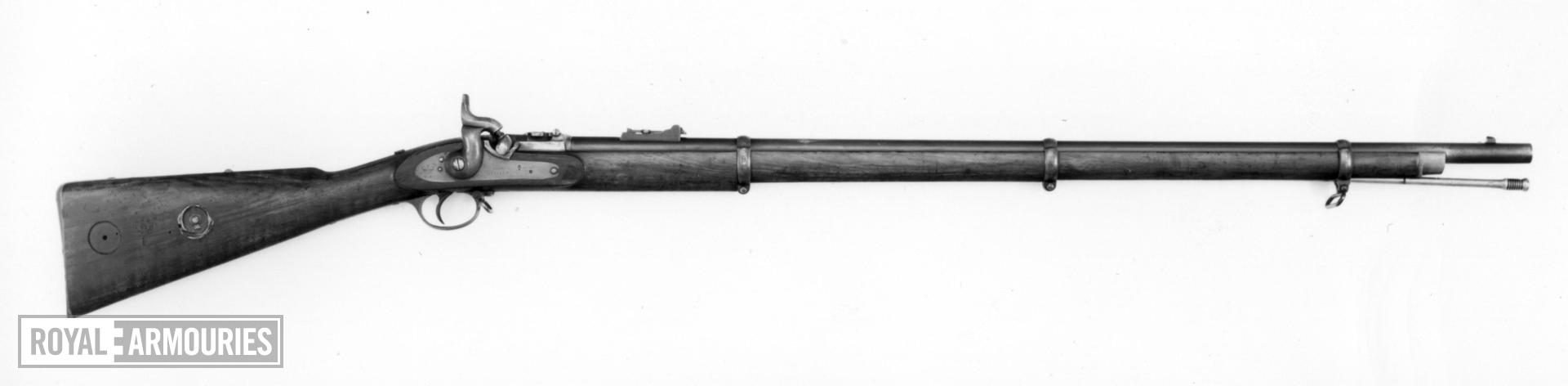Percussion breech-loading military rifle - Pattern 1853 with Mont Storm's conversion, sealed pattern Enfield converted with W.M. Storm's breech, patented 1857