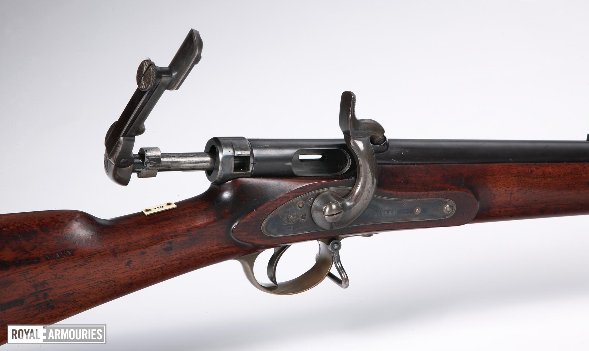 Percussion breech-loading military rifle - Calisher and Terry model for the Navy, sealed pattern Short model