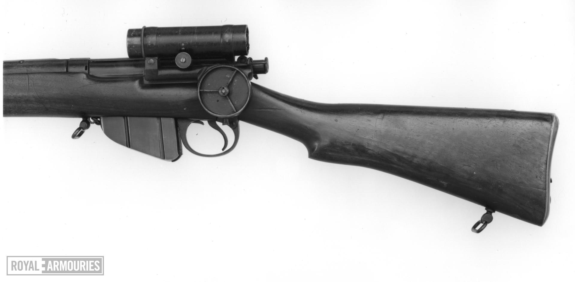 Centrefire bolt-action magazine rifle - Lee-Speed Commercial model by B.S.A Telescopic sight by A.A. Common (patented)