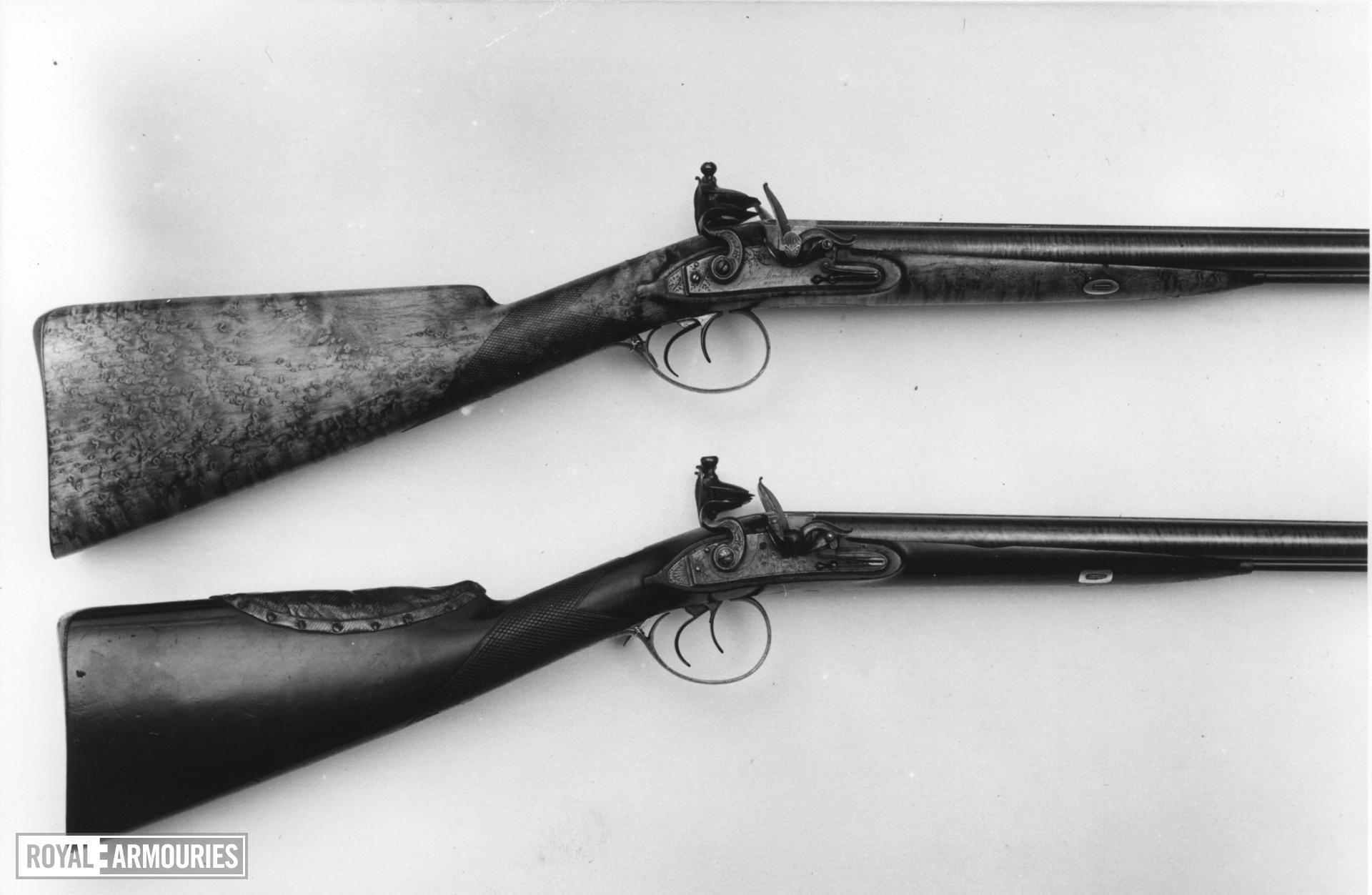 Flintlock double-barrelled shotgun - By Staudenmayer Flintlock double barrelled shotgun by Staudenmayer about 1815.