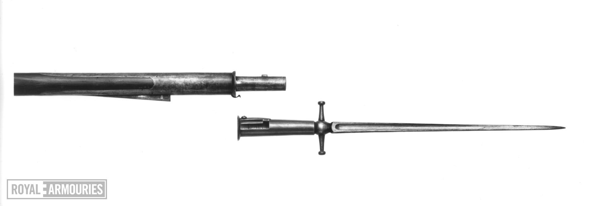 Percussion muzzle-loading military rifle - Brunswick rifle Commercially made with pike