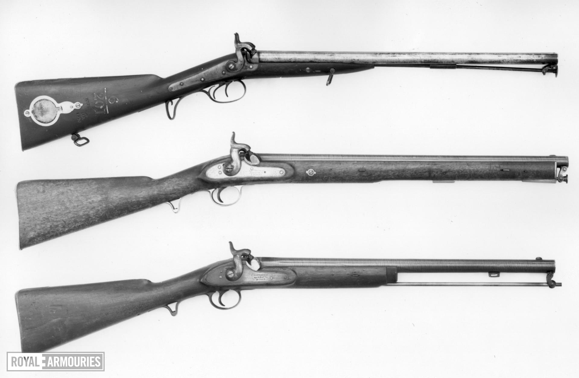 Percussion muzzle-loading military double-barrelled carbine - By Hollis and Sheath Supplied by Garden & Son