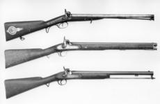 Thumbnail image of Percussion muzzle-loading military double-barrelled carbine - By Hollis and Sheath Supplied by Garden & Son