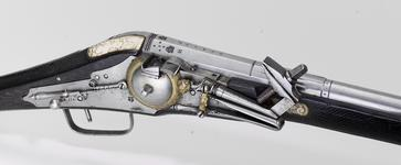 Thumbnail image of Flintlock military carbine Lock by H. Nock, screwless pattern Monogram Maria I and Pedro III, Lisboa