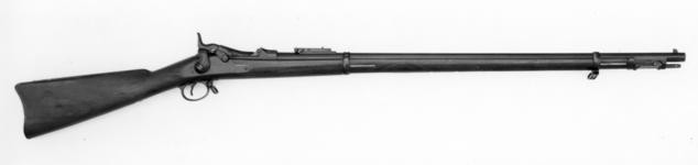 Thumbnail image of Centrefire breech-loading rifle - Springfield Model 1884 Model 1884 Springfield with rod bayonet Known as the trapdoor Springfield