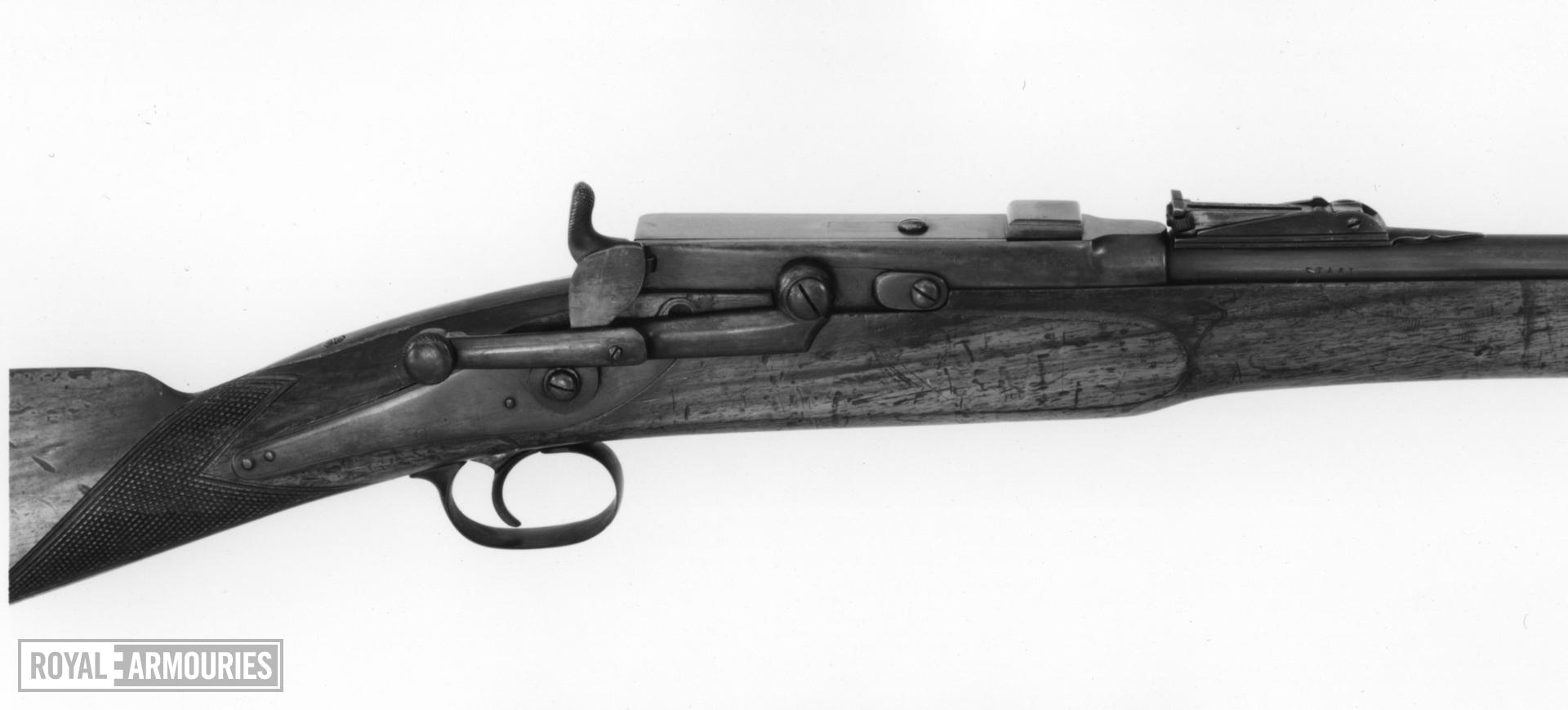 Rimfire breech-loading magazine military rifle - By Larsen Experimental design, Staal Patent