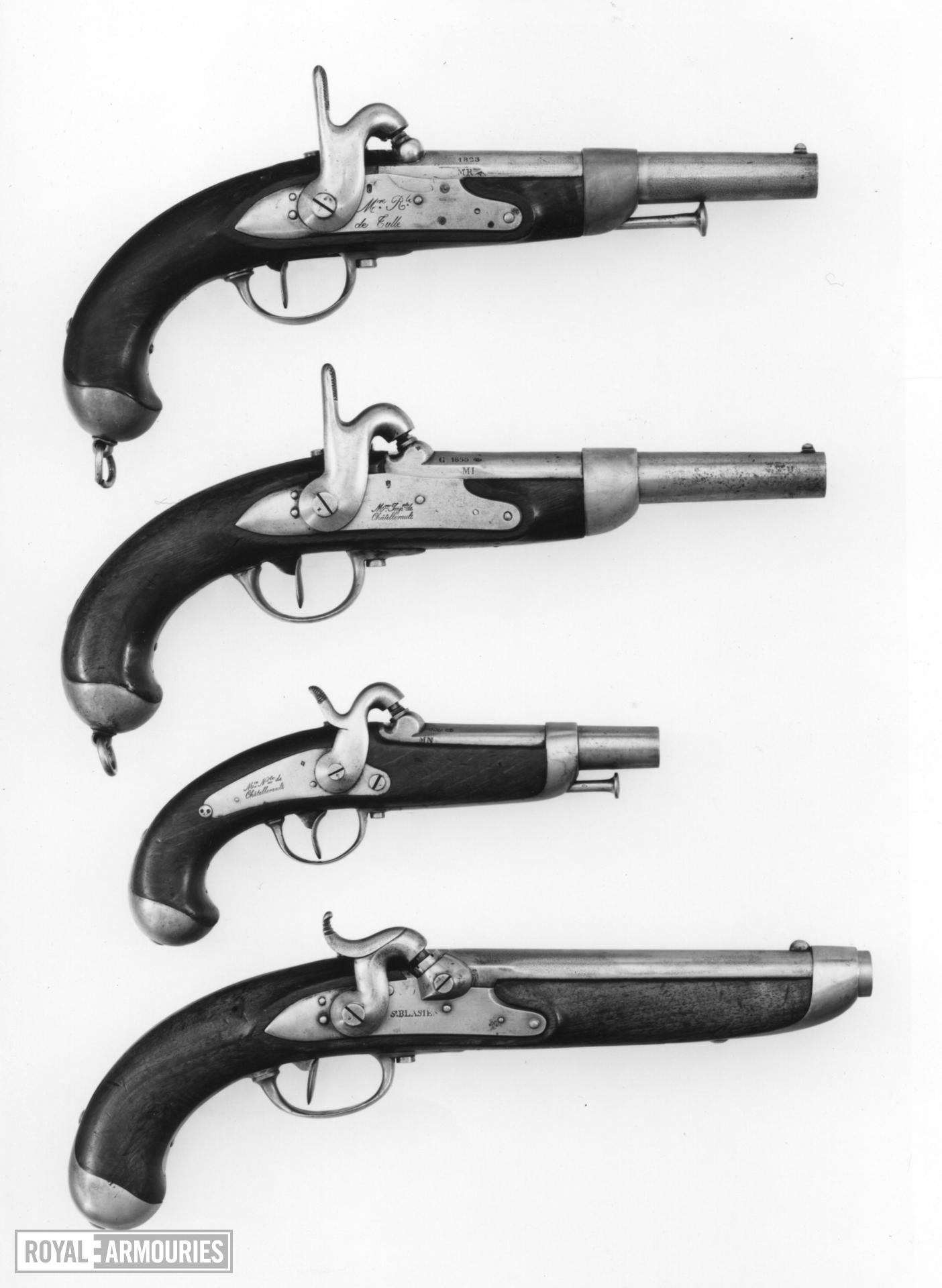 Percussion military pistol - Model 1822 Cavalry Manufactured by Royale de Tulle, converted in 1841