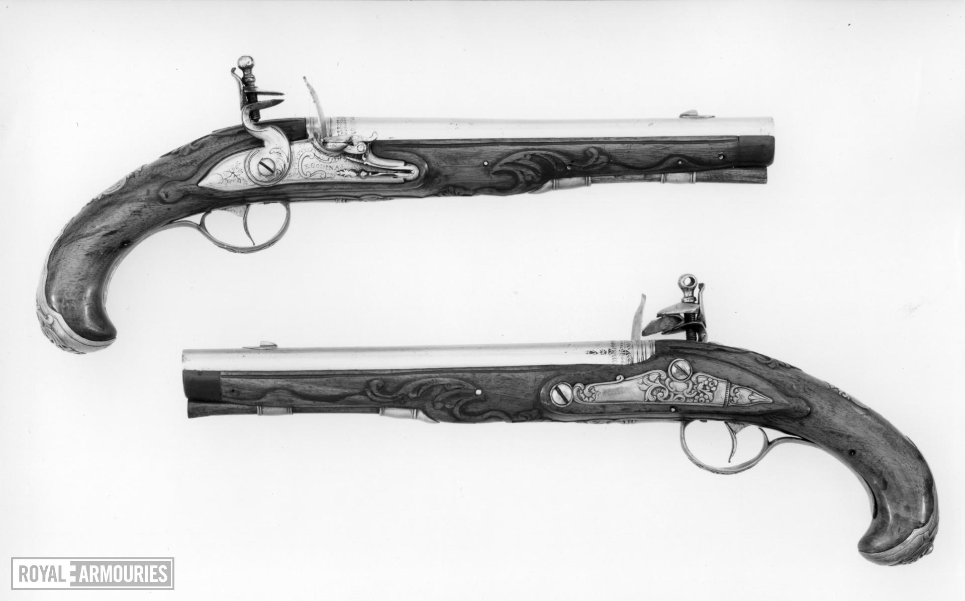 Flintlock holster pistol By E. Godinas One of a pair see XII.1098