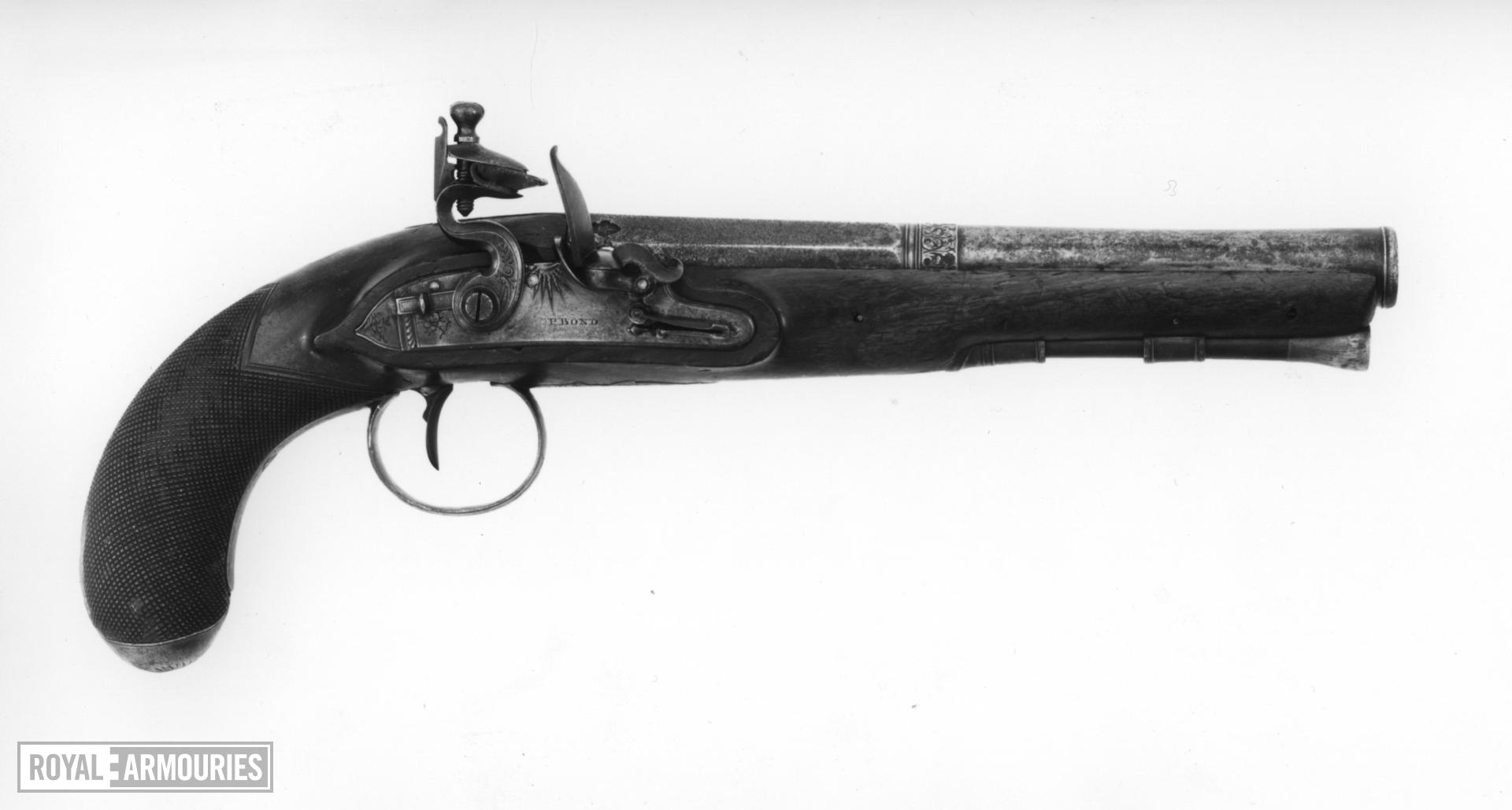 Flintlock pistol By a member of the Bustindui family Lock by P. Bond
