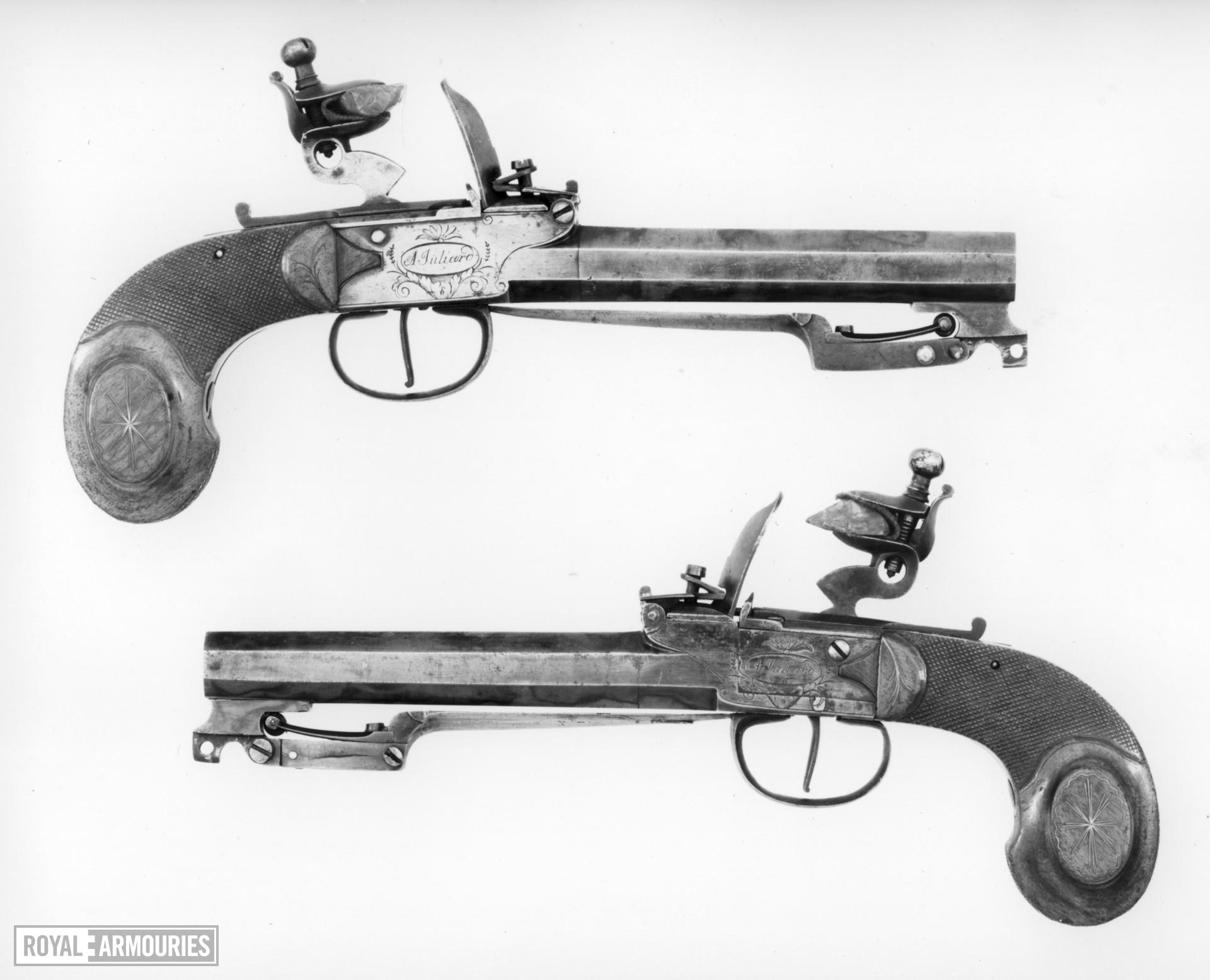 Flintlock pistol By A. Juliard One of a pair see XII.1111