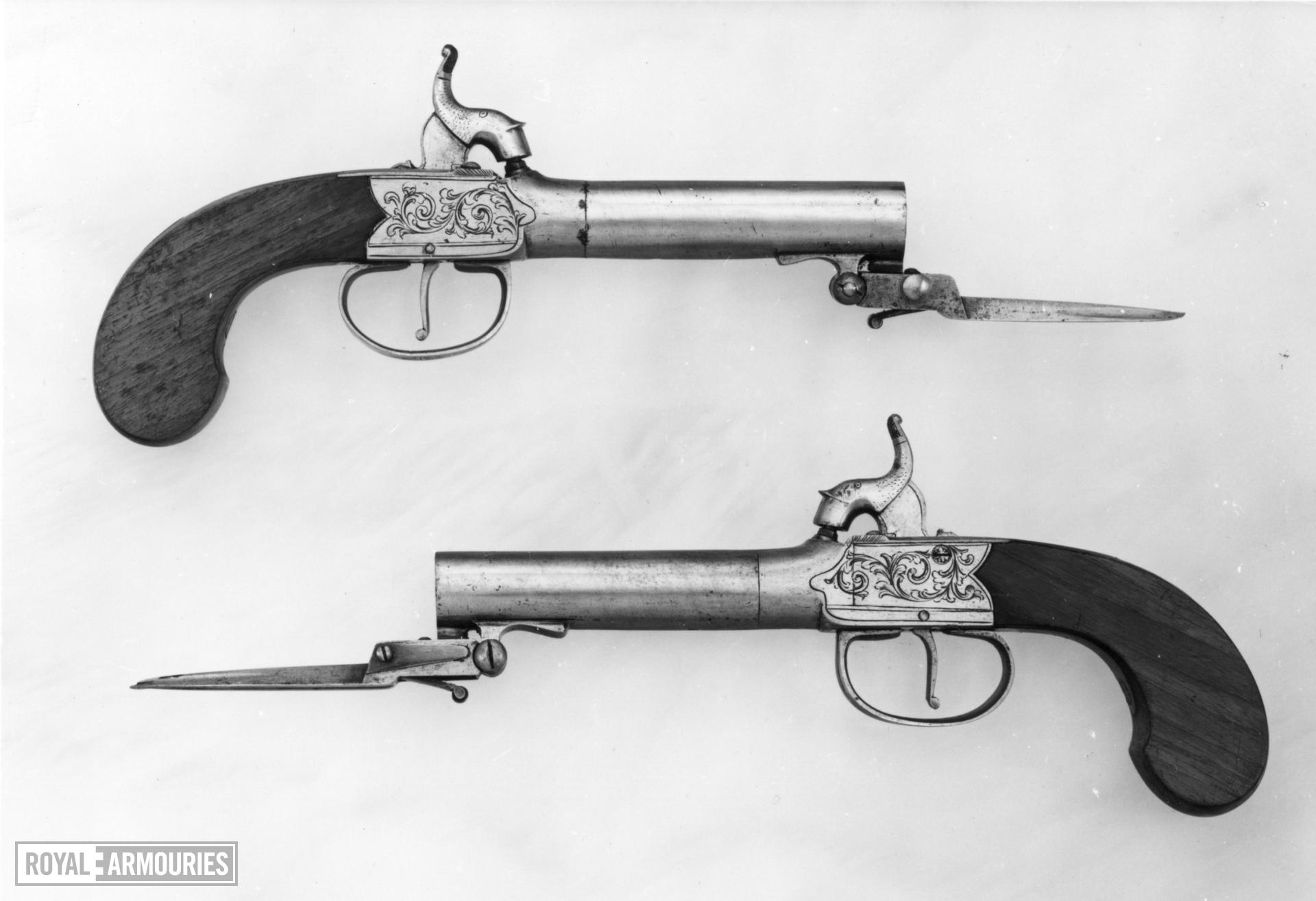 Percussion pocket pistol By Fletcher One of a pair; with XII.1378