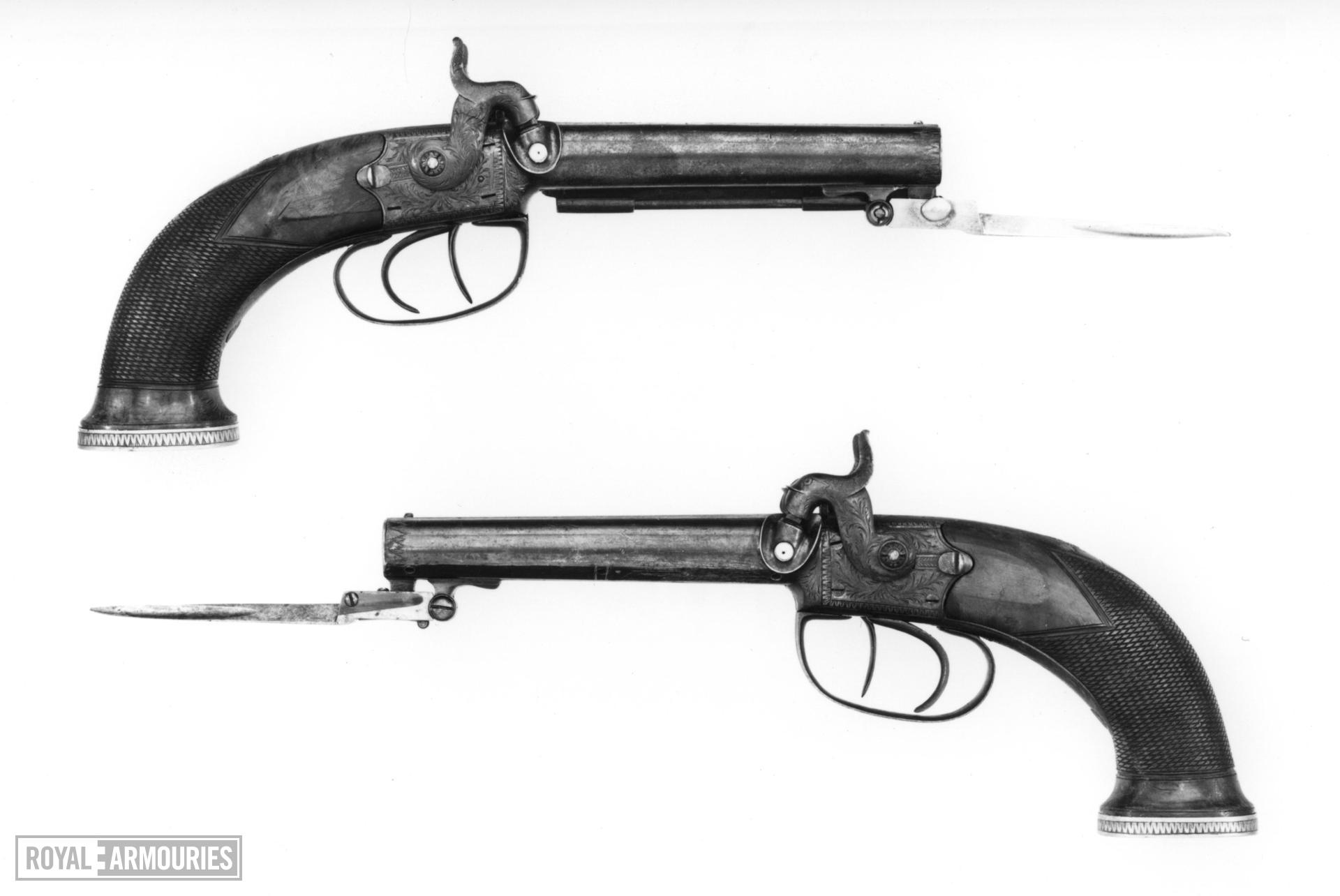 Percussion double-barrelled pistol By Wilbraham One of a pair; see XII.1394 A