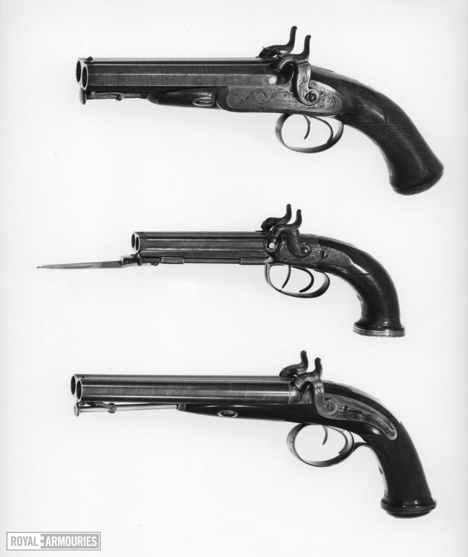 Percussion double-barrelled pistol