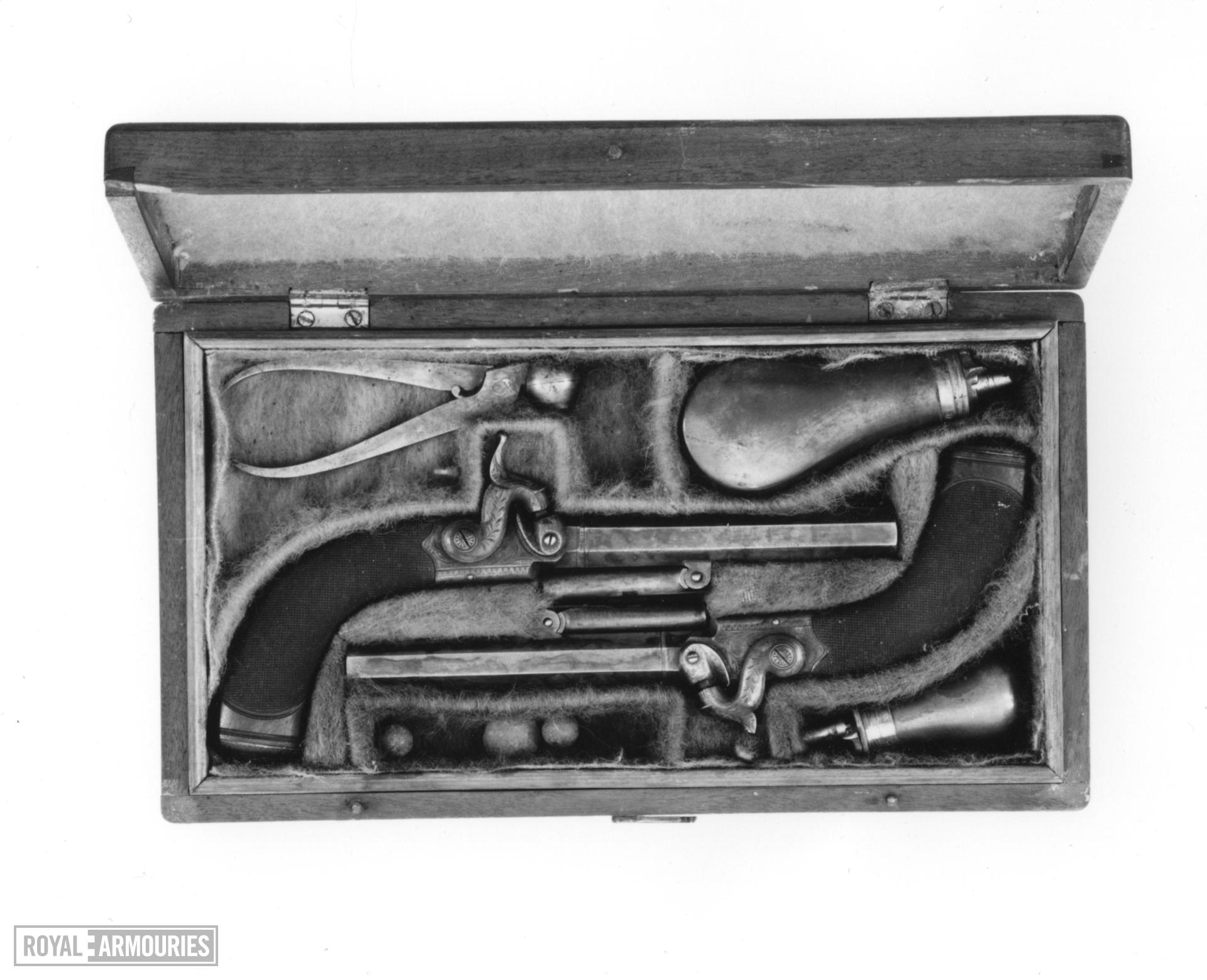 Percussion pocket pistol By Blanch Cased; one of a pair; see XII.1463 A