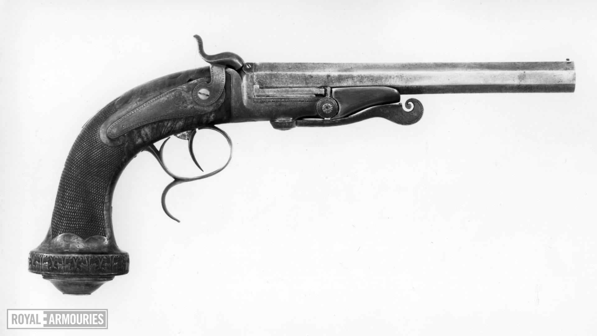 Centrefire breech-loading target pistol - Lefaucheux Patent