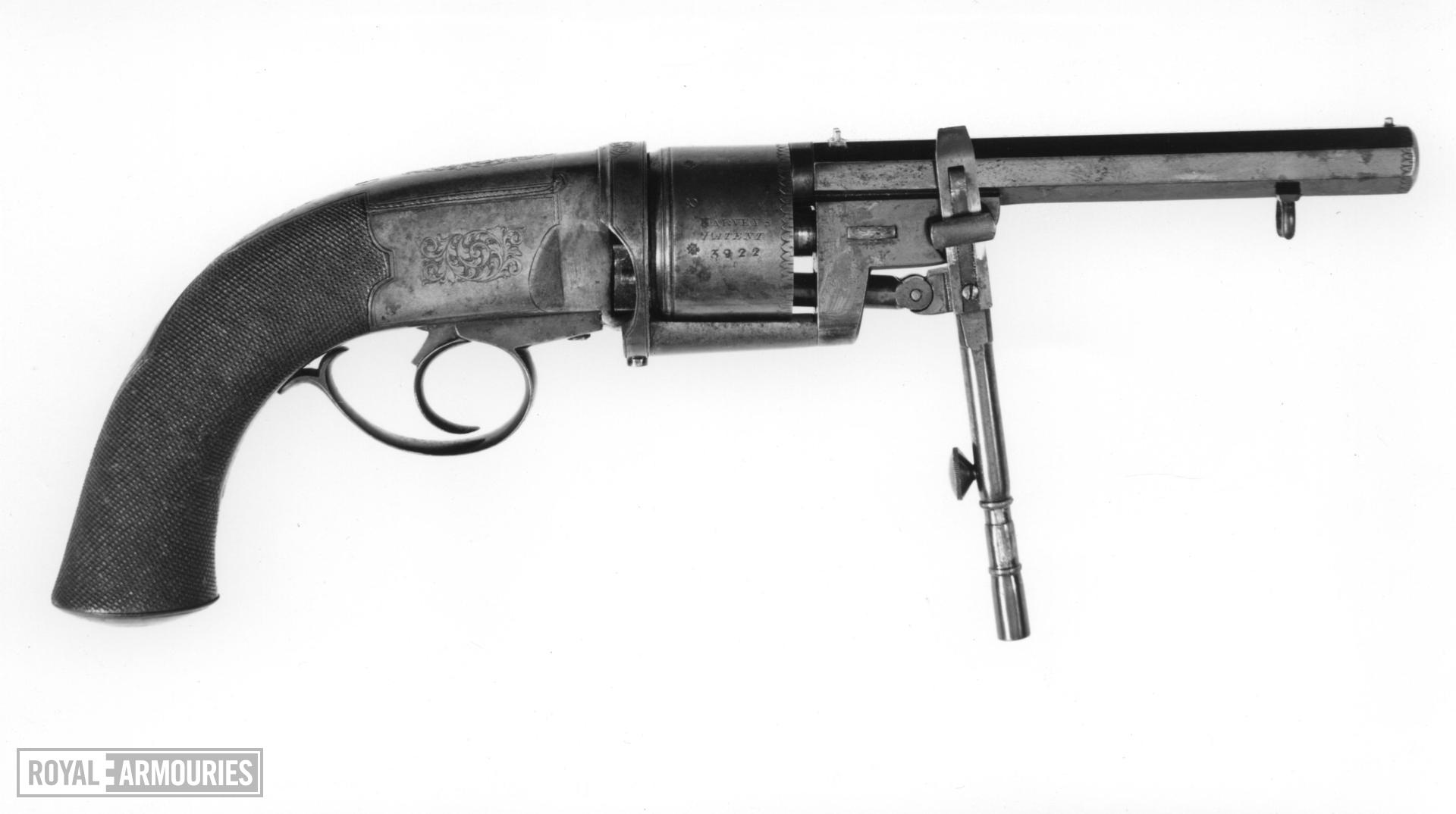 Percussion six-shot revolver - Harvey's Patent Retailed by W.J. Harvey, Exeter