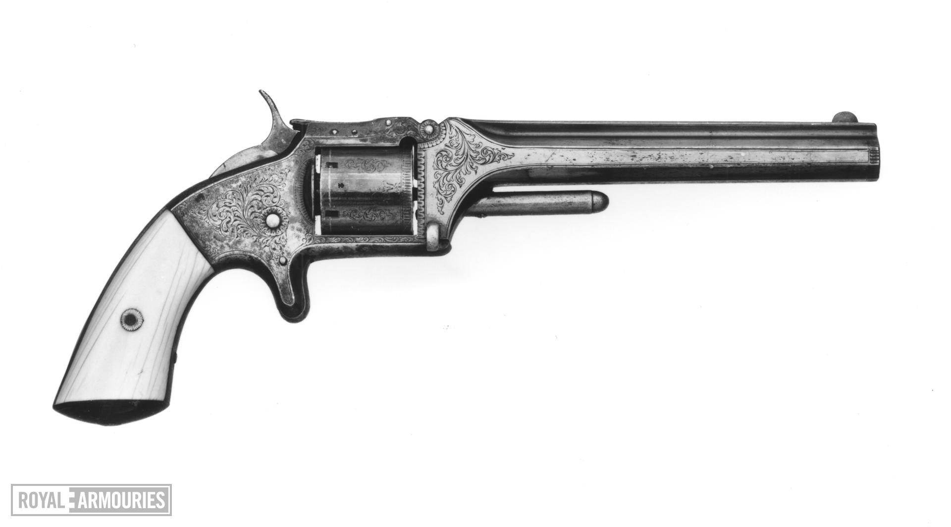 Rimfire six-shot revolver - Webley Copy of a Smith & Wesson Model 2 Retailed by Walter Scott