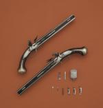 Thumbnail image of Flintlock double-barrelled pistol With over and under barrels By Dolep, one of a pair