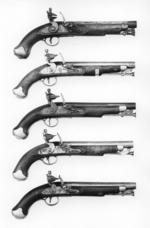 Thumbnail image of Flintlock military pistol - Paget Light Cavalry Model Design introduced 1802-3 . Similar to preceeding model but fitted with stirup ramrod.