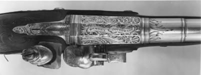 Thumbnail image of Flintlock holster pistol Probably by John Kidder One of a pair; see XII.1657