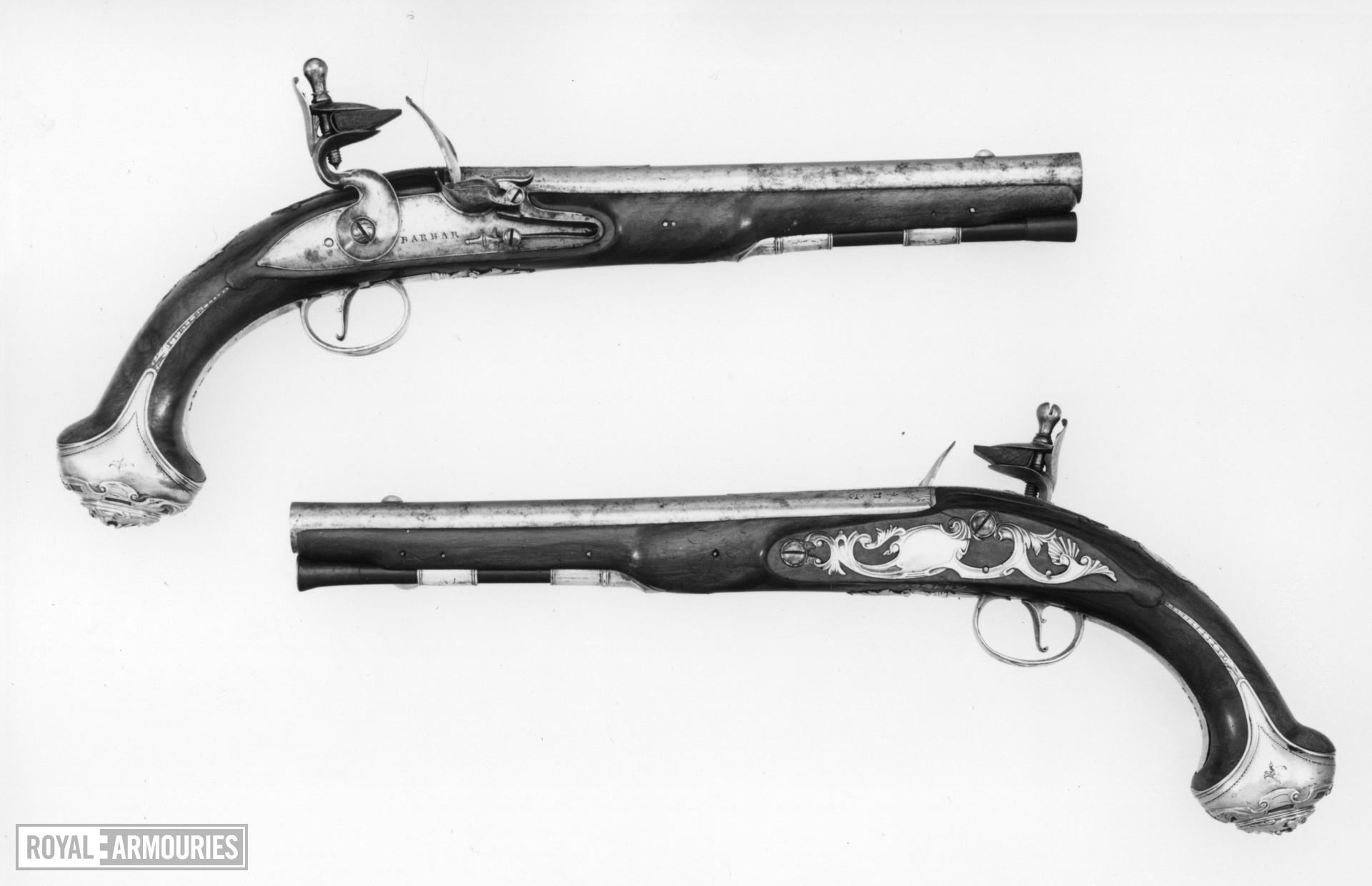 Flintlock holster pistol By Barbar One of a pair; see XII.1659