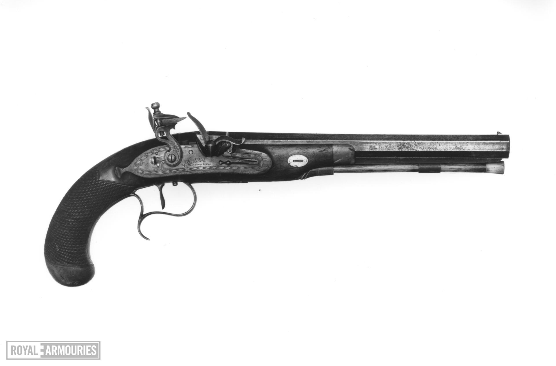 Flintlock duelling pistol - By Simeon North