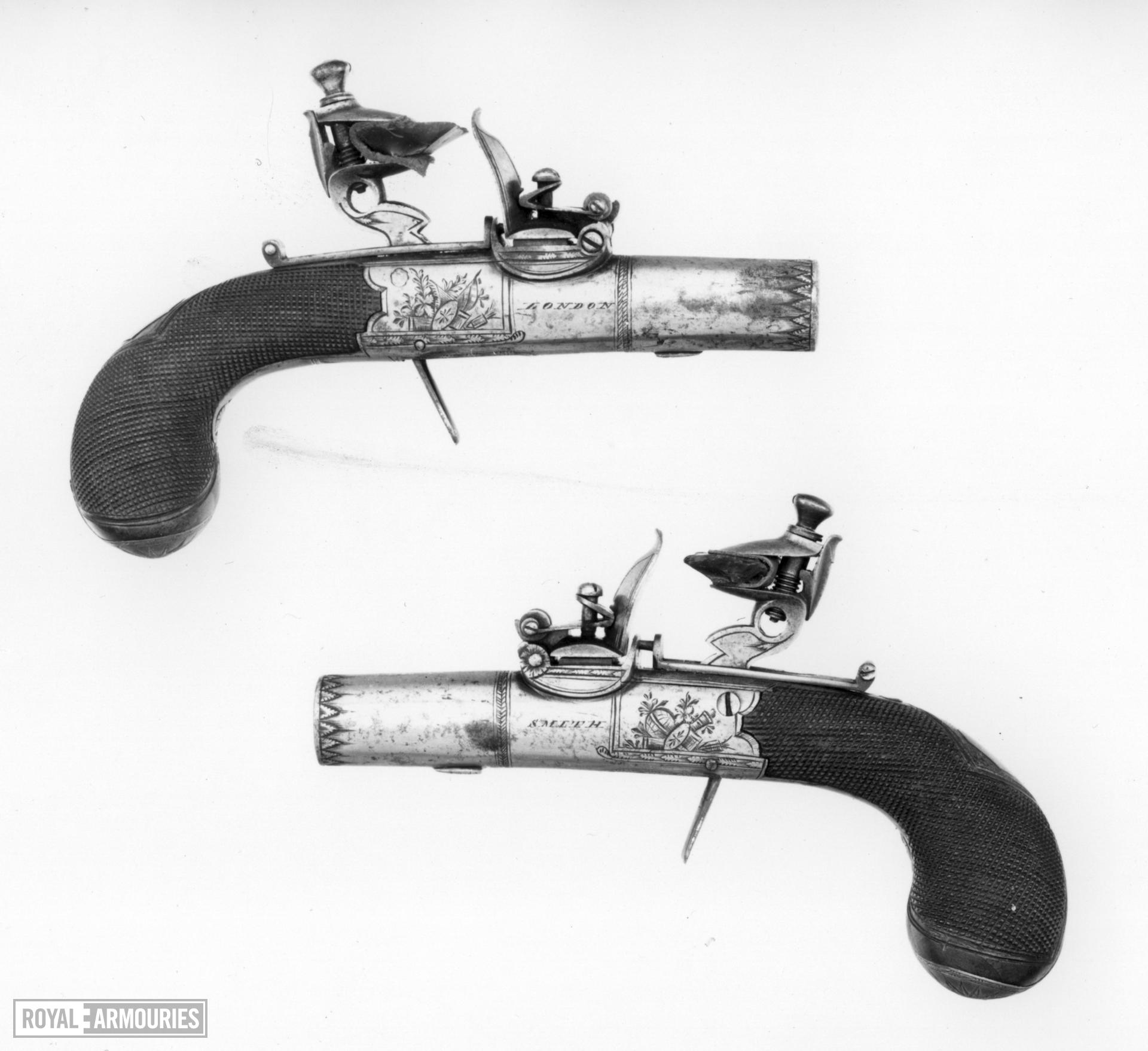 Flintlock pocket pistol By Smith One of a pair; see XII.1665