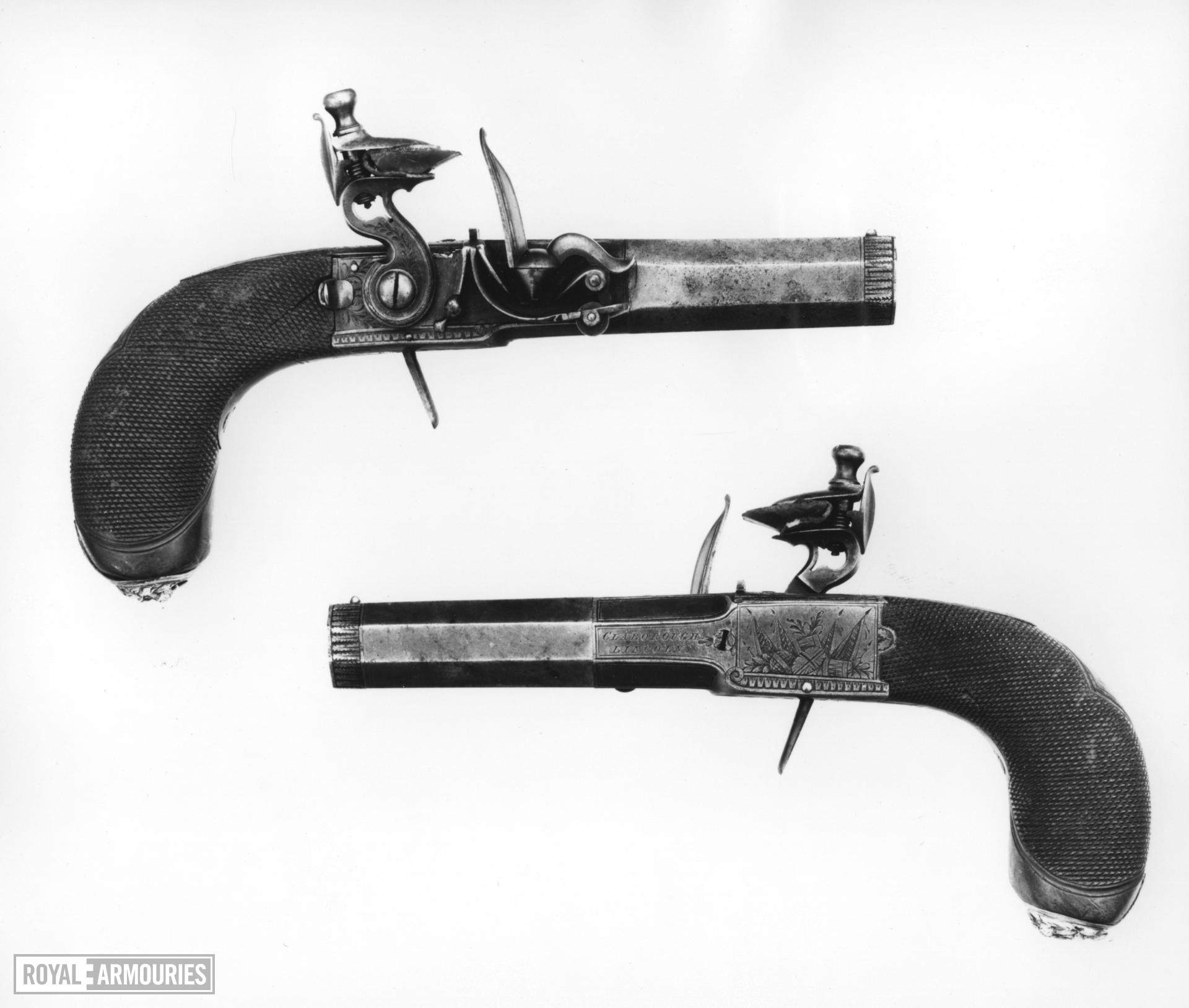 Flintlock pocket pistol By Claborough One of a pair; see XII.1724