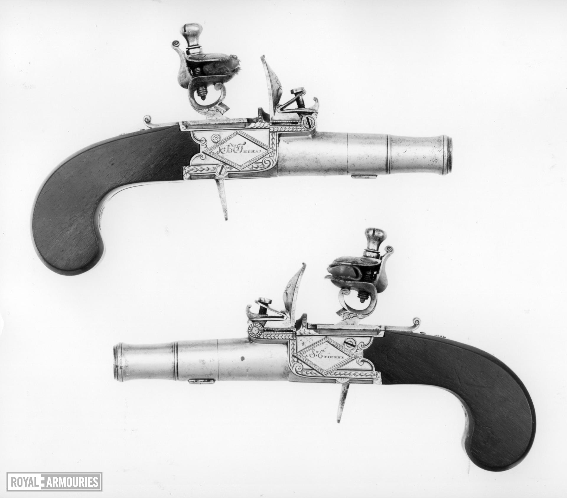Flintlock pocket pistol By Thomas One of a pair see XII.1107 B