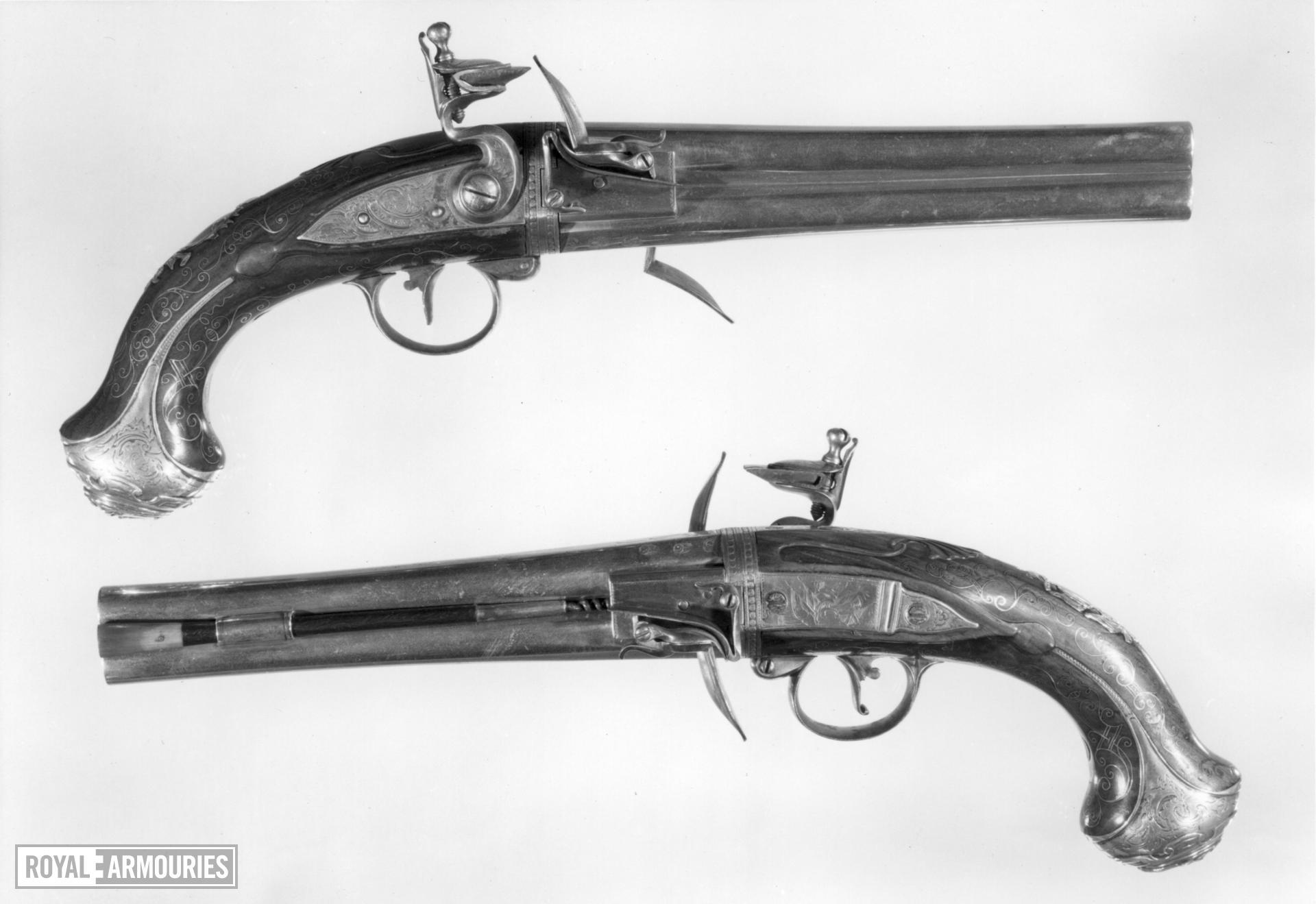 Flintlock holster pistol By Adams One of a pair; see XII.1701