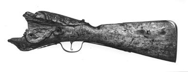 Thumbnail image of Flintlock firework gun - N/A The breech end of the stock is carved in high relief as a monster's head.