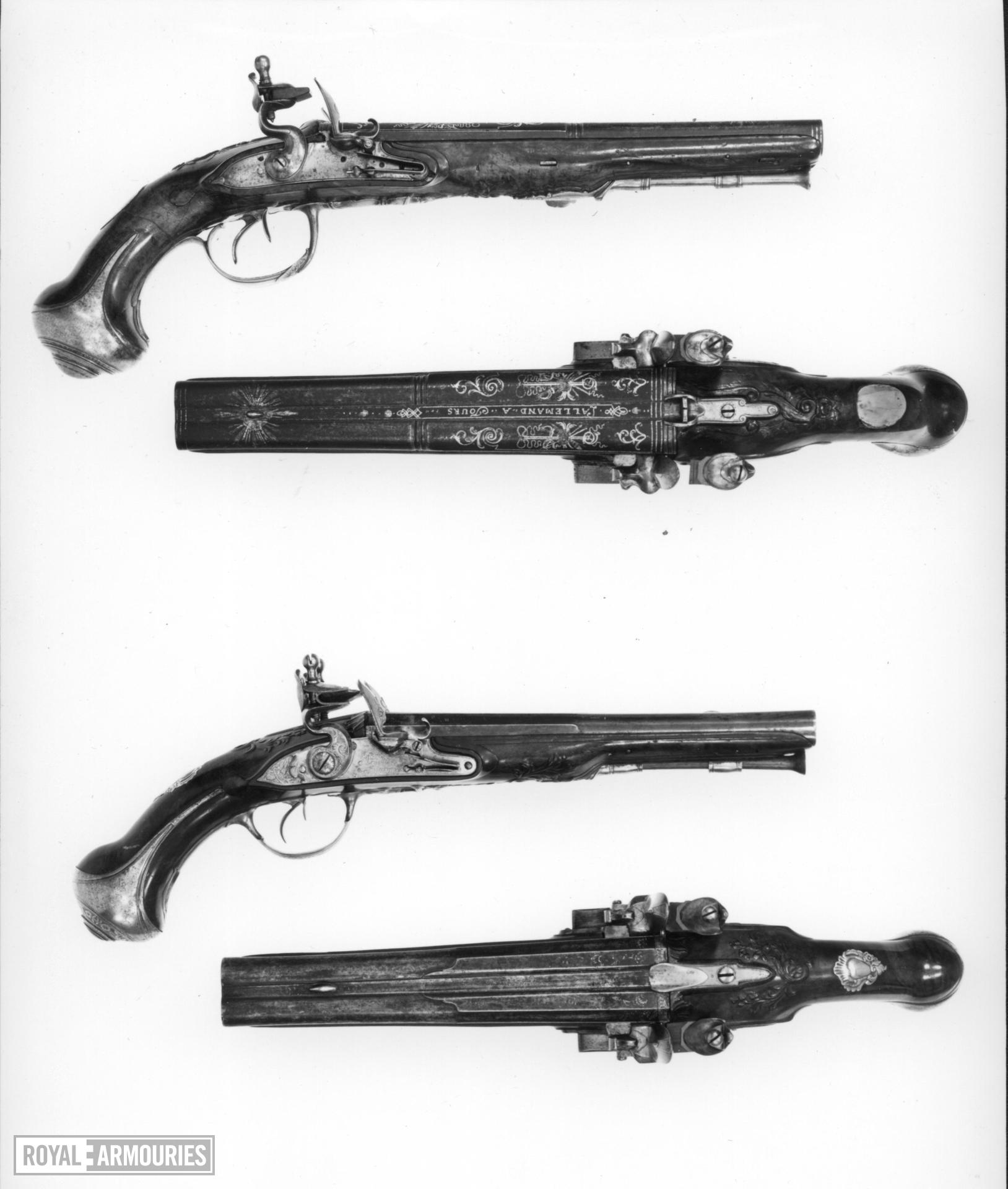 Flintlock pistol By Lallemand One of a pair; see XII.1313