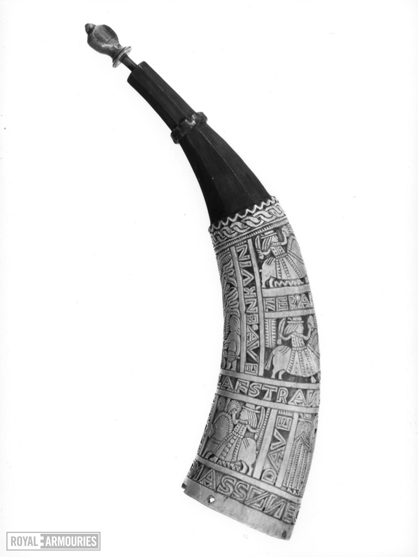 Powder horn Carved in relief from cow horn