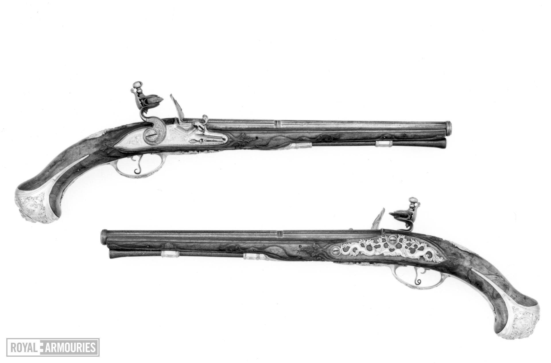 Flintlock pistol Barrel by Antonio Franzino Locks by Guielleume le Hanne a Haive One of a pair see XII.1322