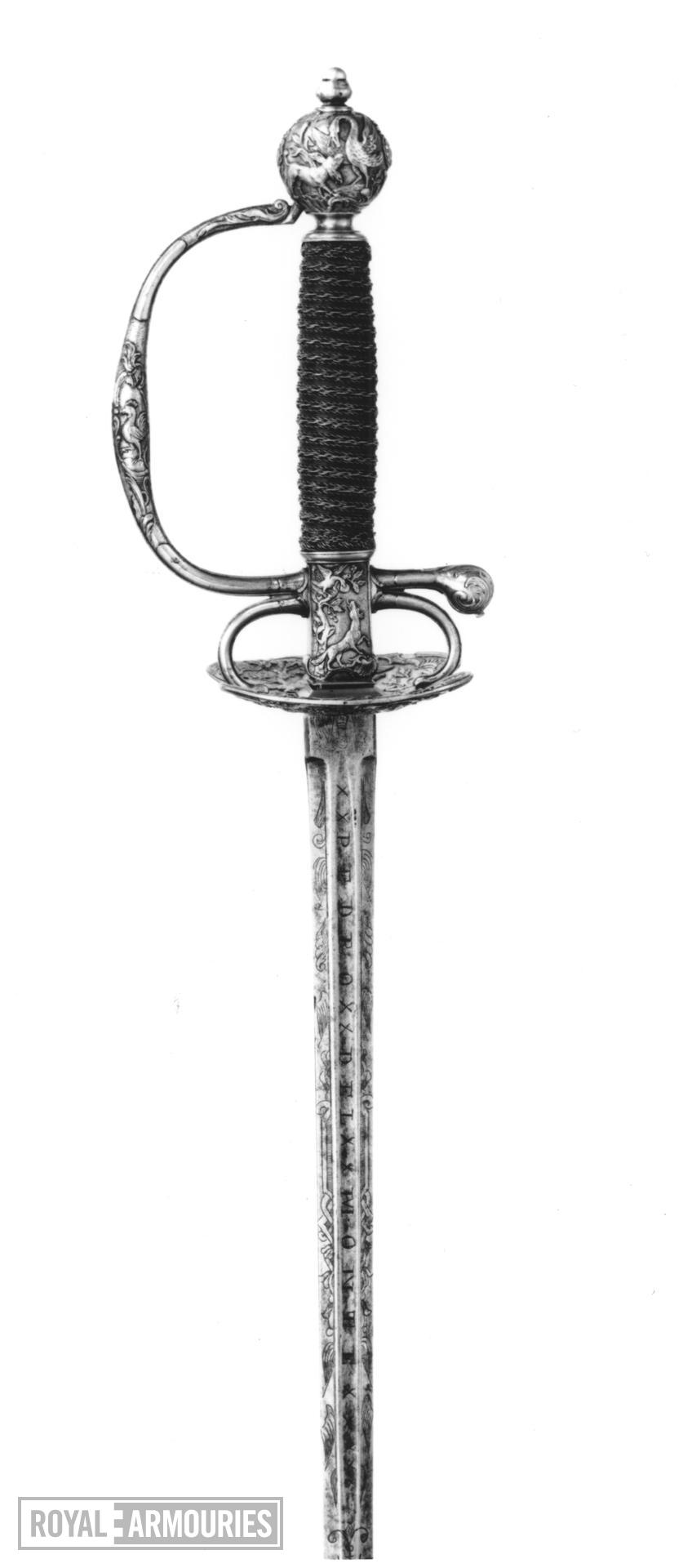 Sword French hilt with a German blade in imitation of Toledo work