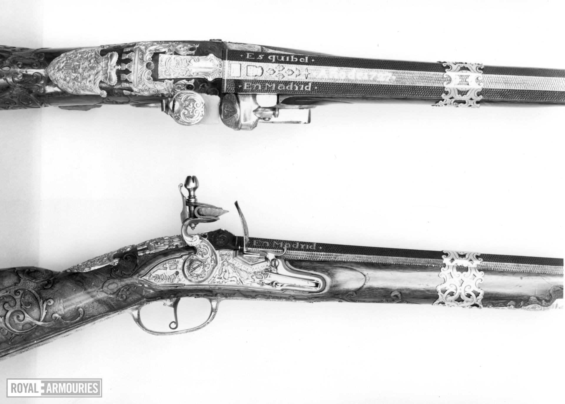 Flintlock sporting gun - By Marcus Zelner One of a pair see XII.1558