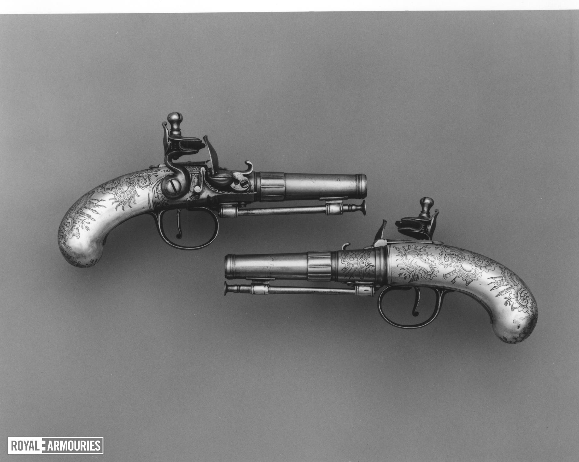 Flintlock pocket pistol One of a pair; see XII.4513