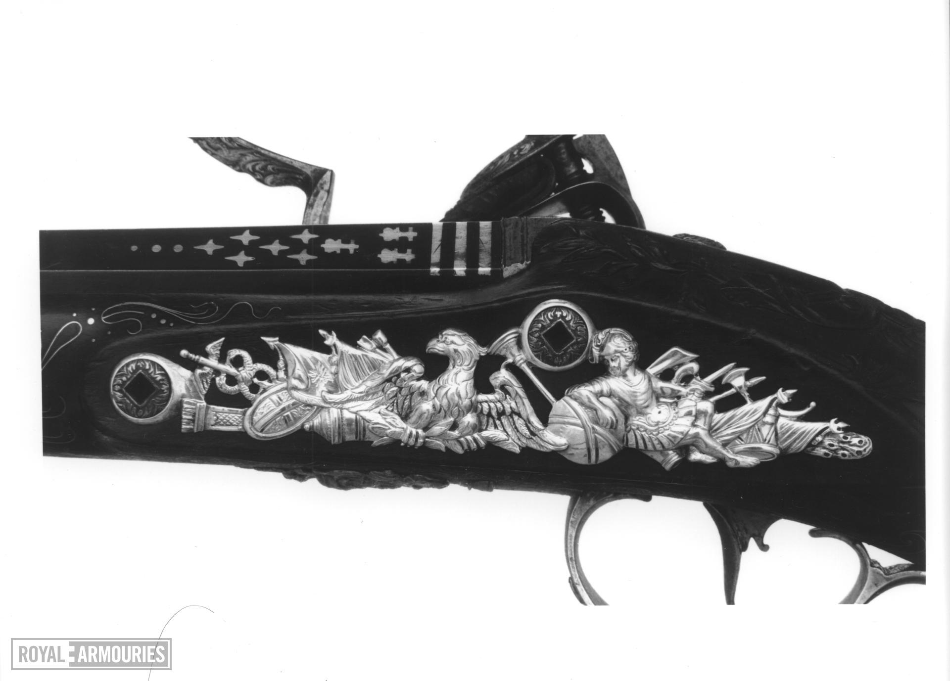 Flintlock holster pistol By Henry Hadley One of a pair see XII.1646.  Probably made for Charles, 3rd Duke of Marlborough, 1706-1758, or for George, Fourth Duke of Marlborough