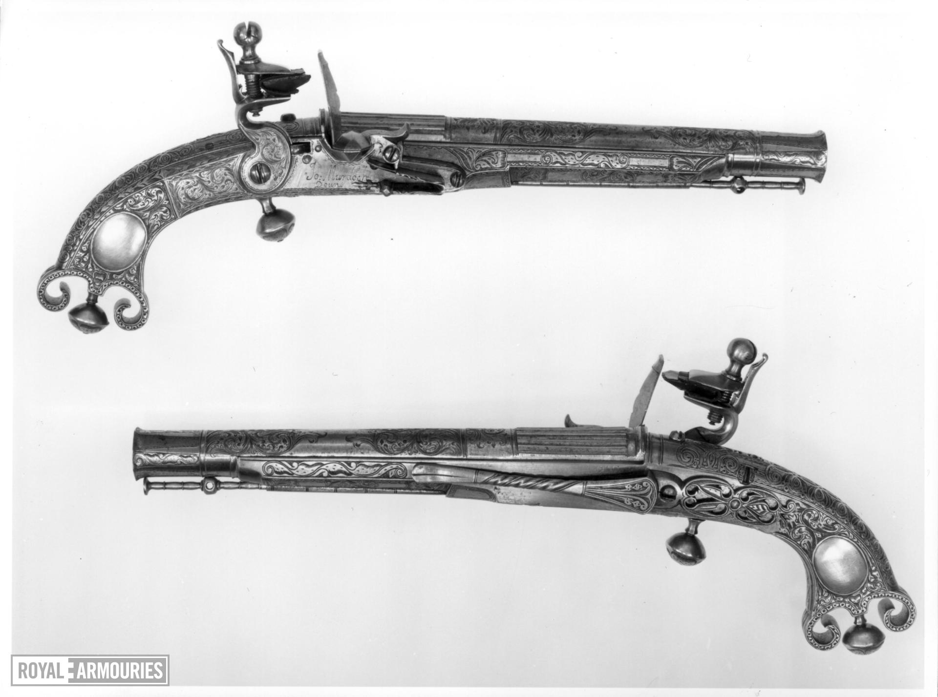 Flintlock pistol By Murdoch One of a pair; see XII.1328