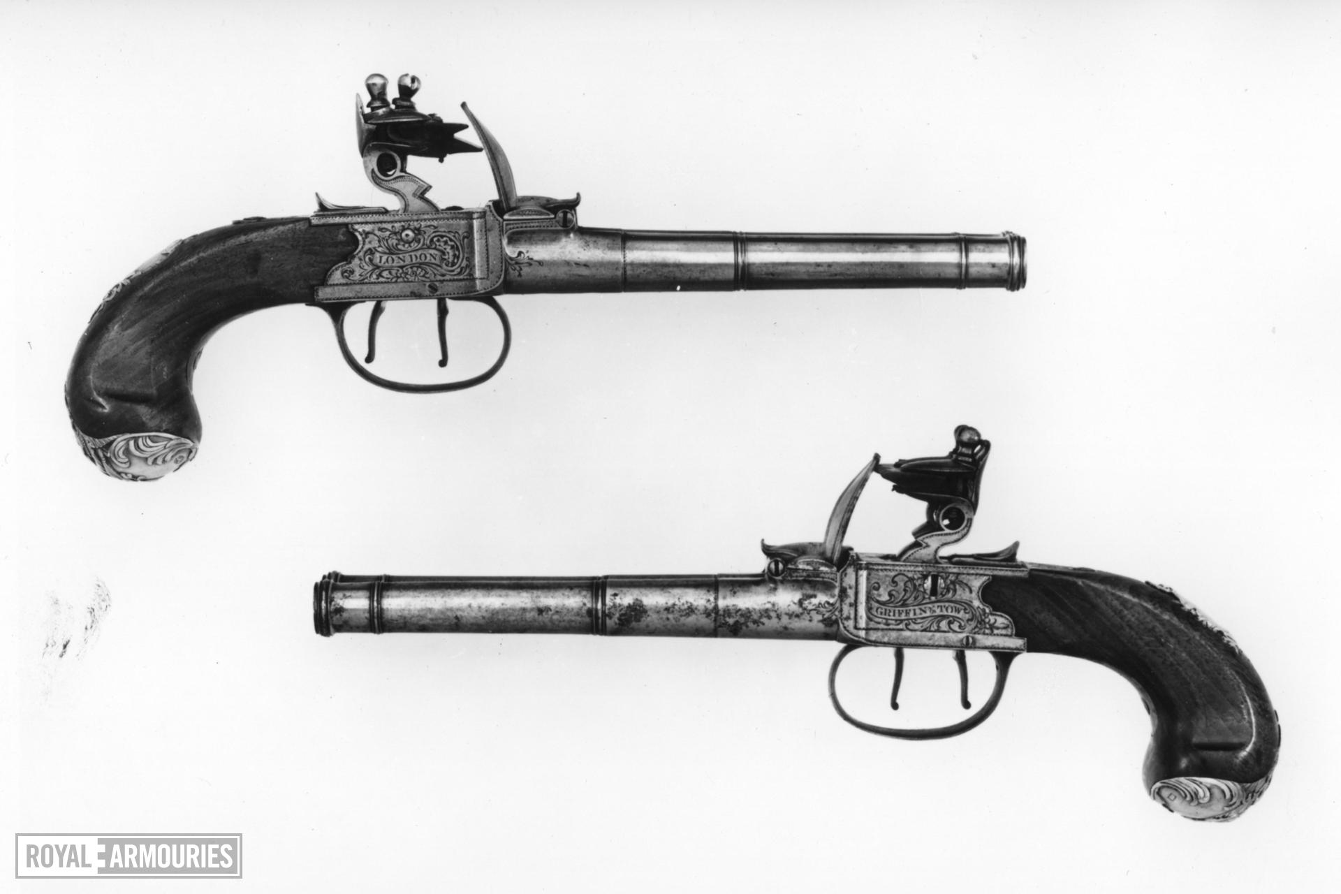 Flintlock pistol By Griffin & Tow One of a pair; see XII.1709