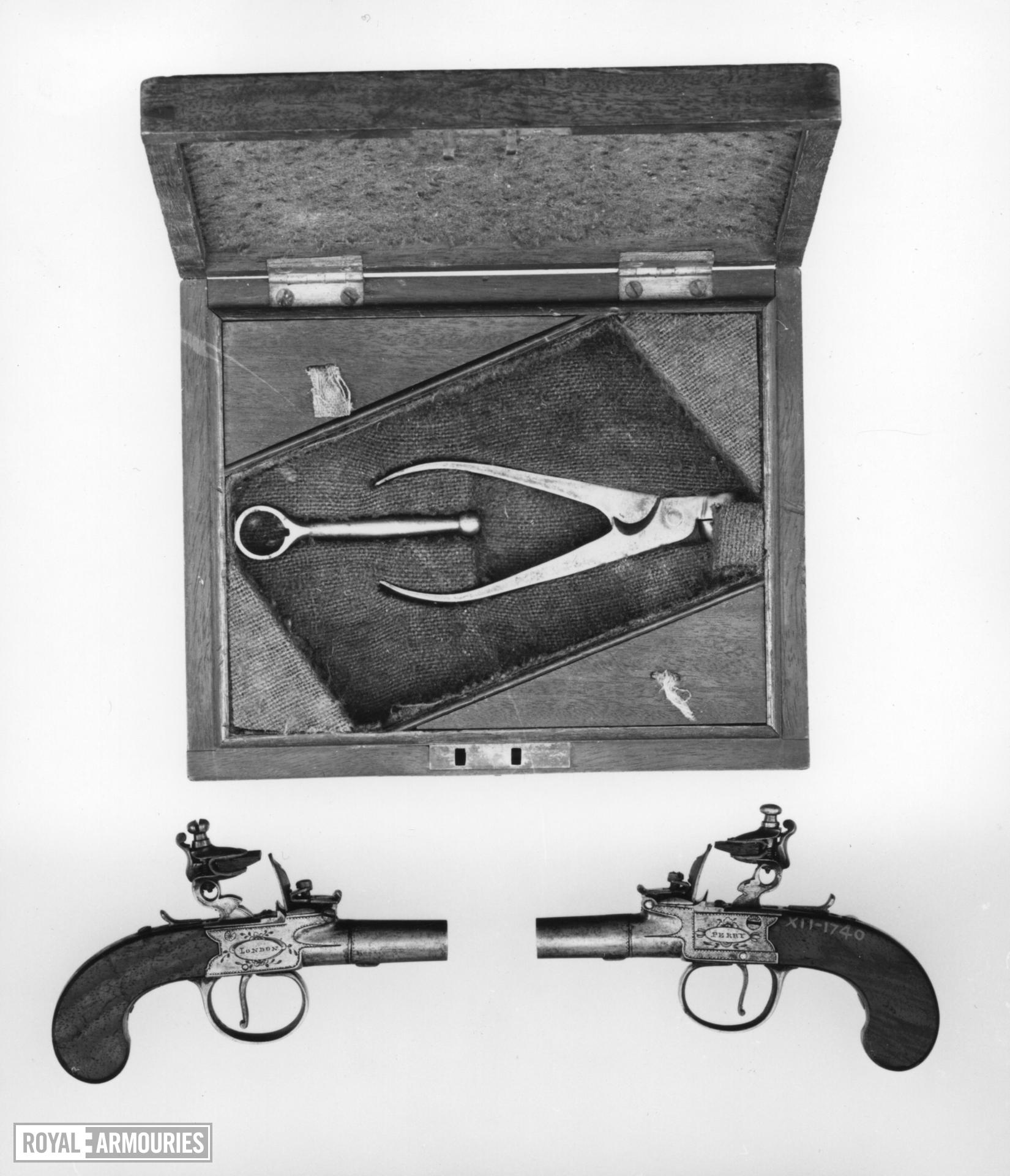 Flintlock pocket pistol By Perry Cased One of a pair; see XII.1740