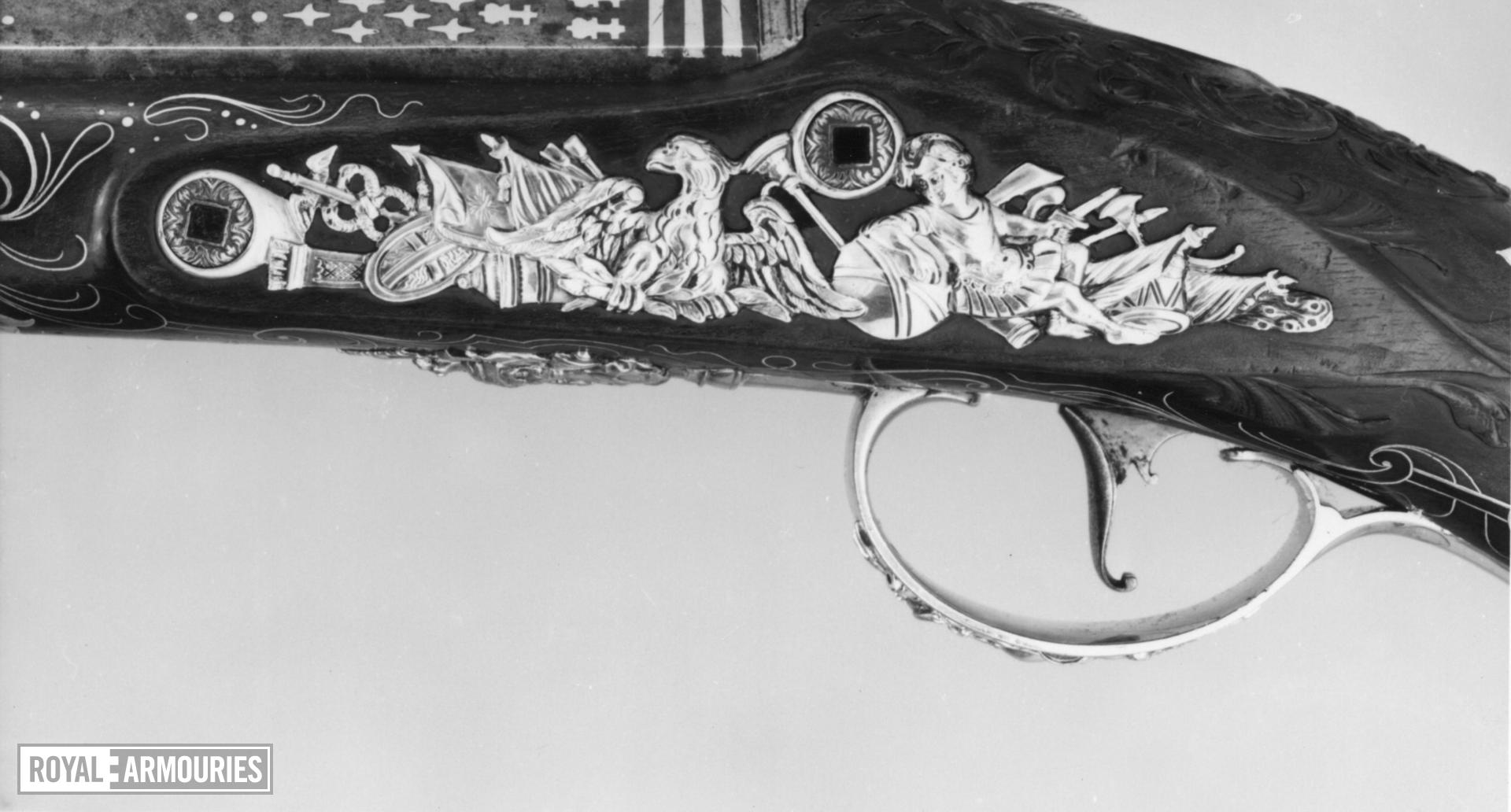 Flintlock holster pistol By S. Brunn One of a pair; see XII.1656