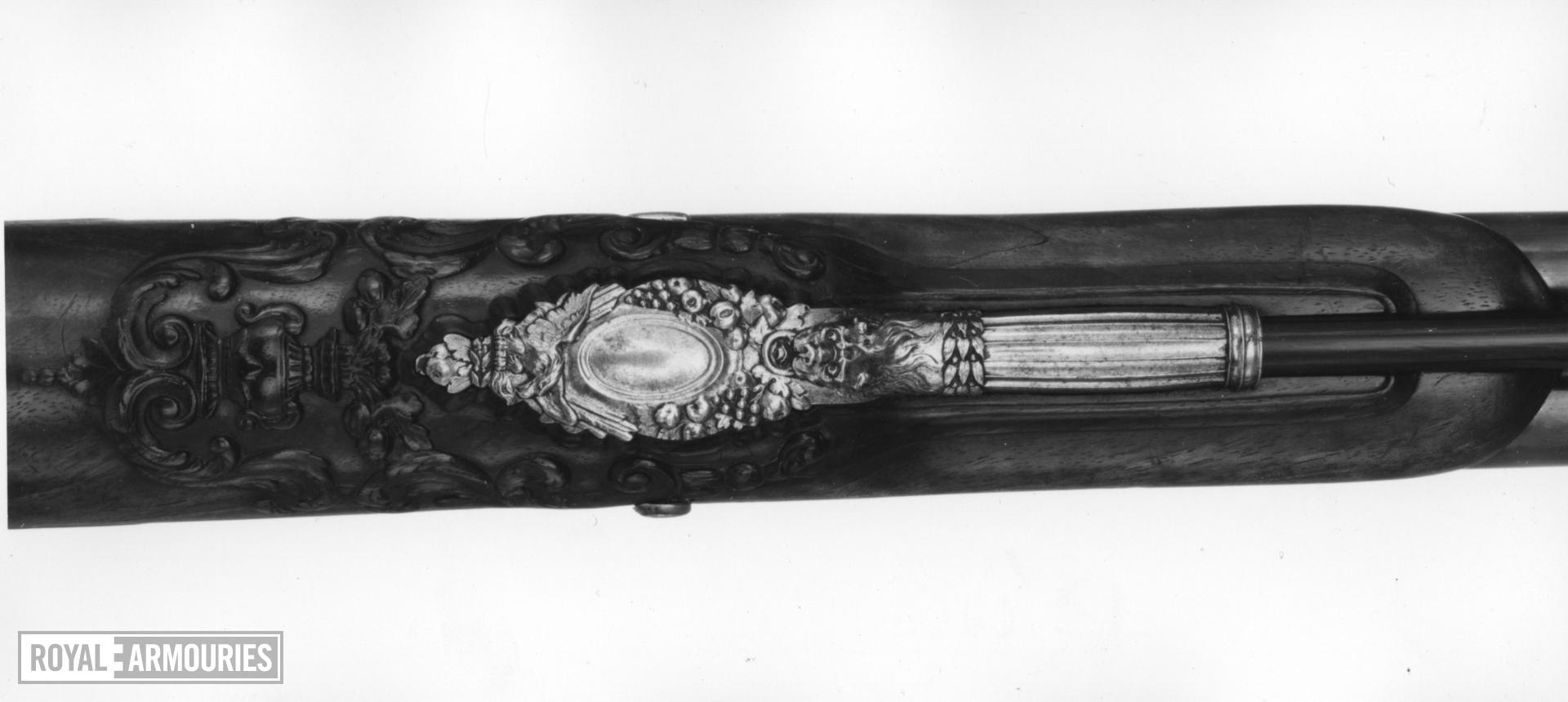 Flintlock muzzle-loading double-barrelled gun - By Nicholas