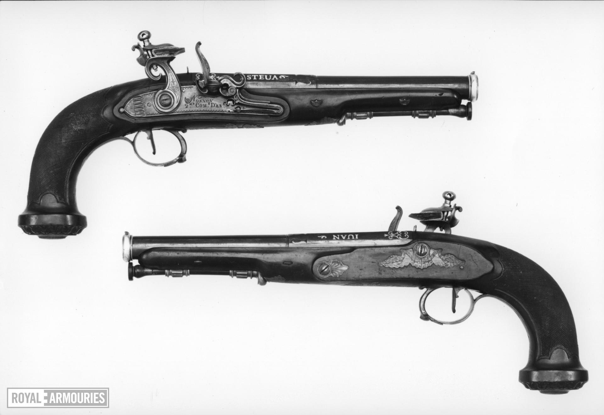 Flintlock holster pistol By Juan Pedro Esteva or Esteban One of a pair; see XII.1448