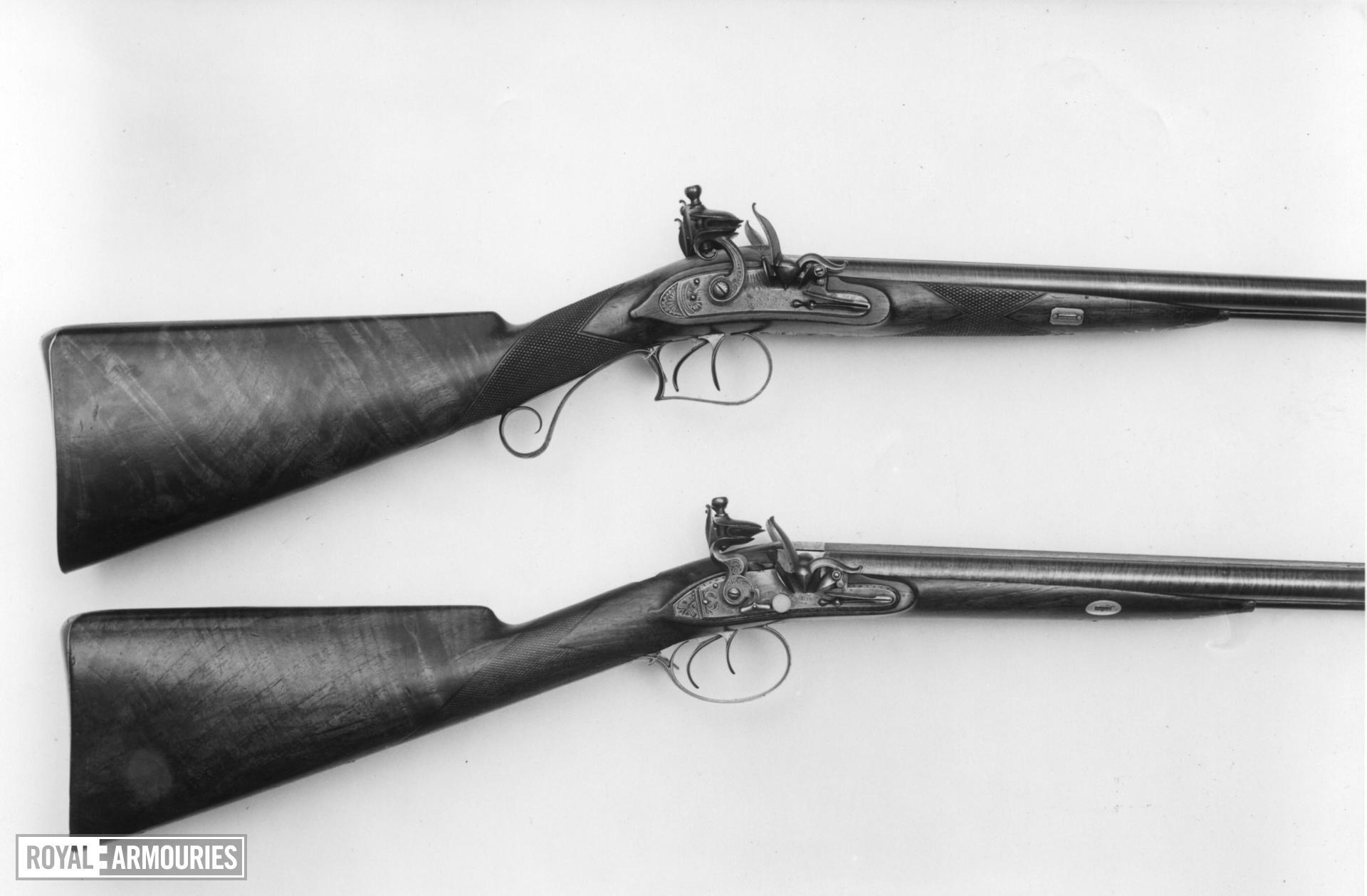 Flintlock double-barrelled gun - By Alexander Wilson