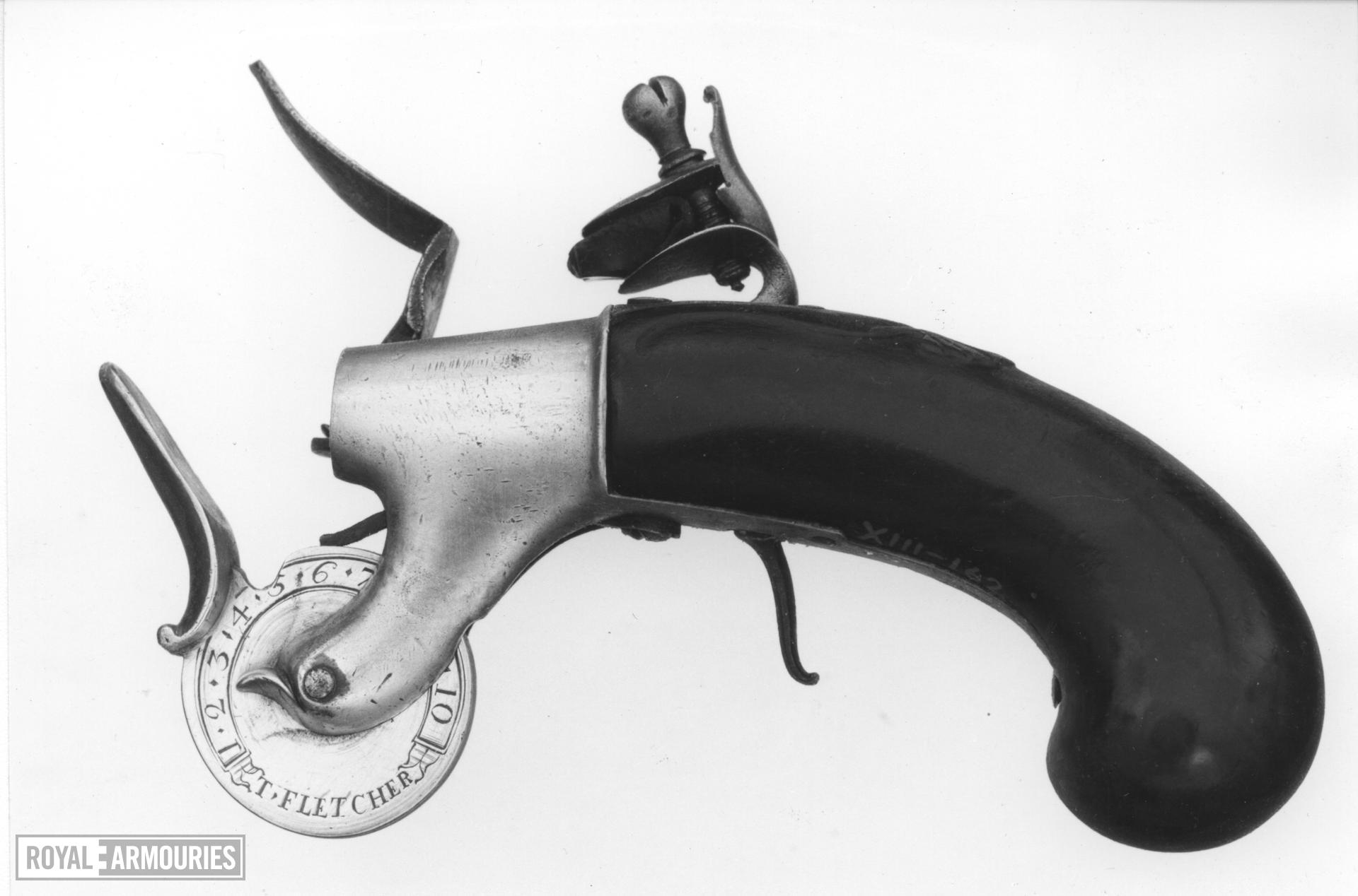 Powder tester By Fletcher of pistol form with flintlock action of box-lock type