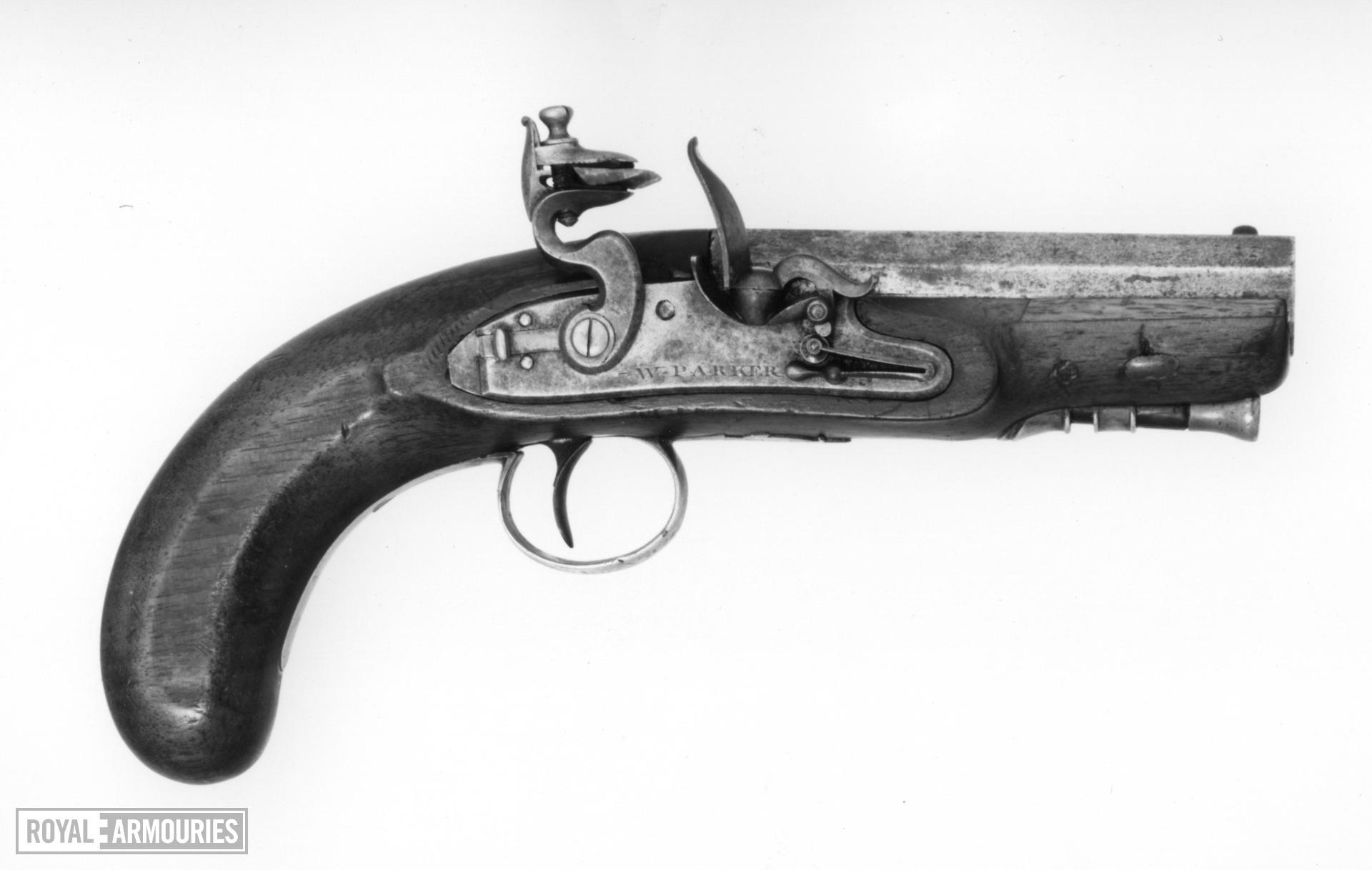 Flintlock muzzle-loading pistol - By W. Parker Of large pocket size.