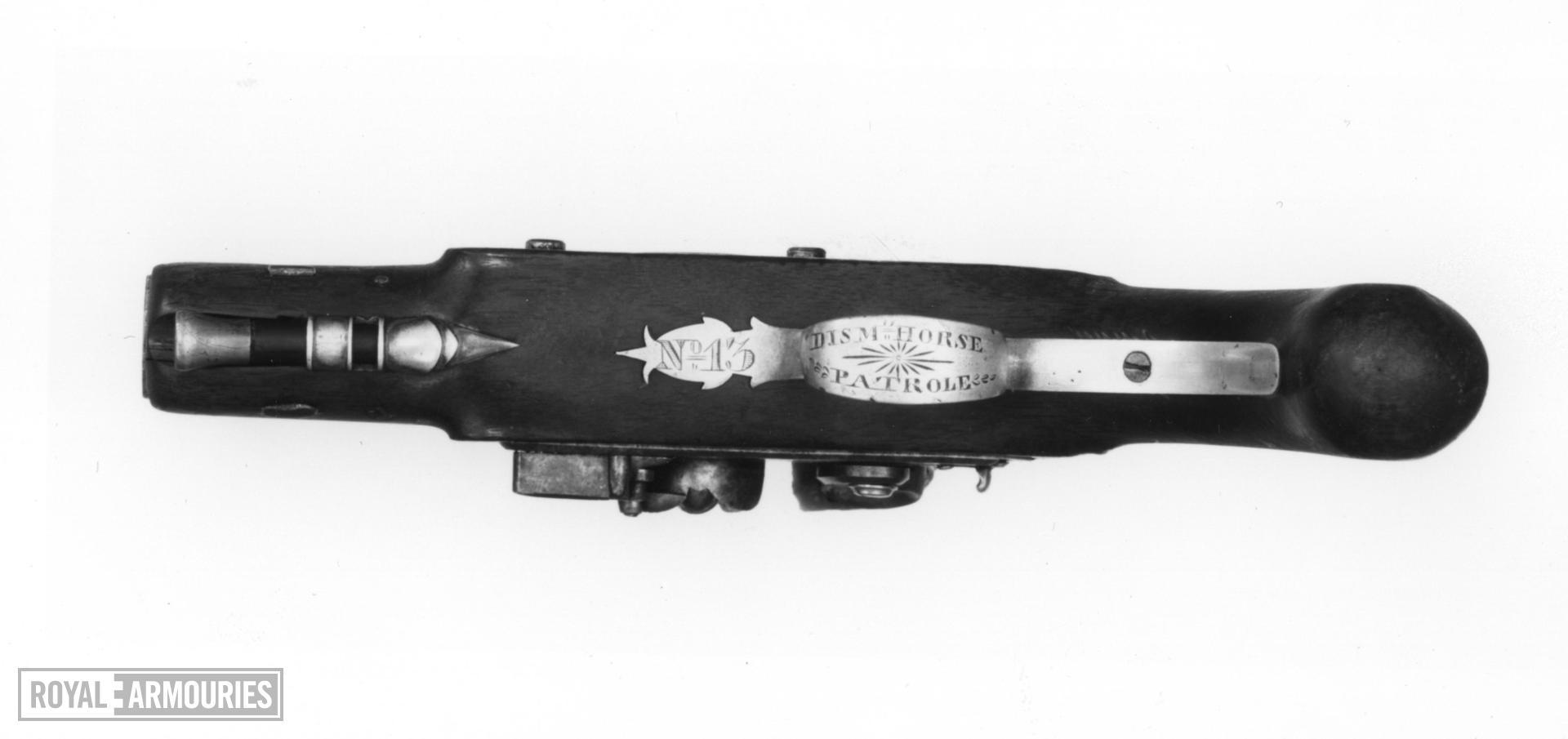 Flintlock muzzle-loading pistol - By W. Parker