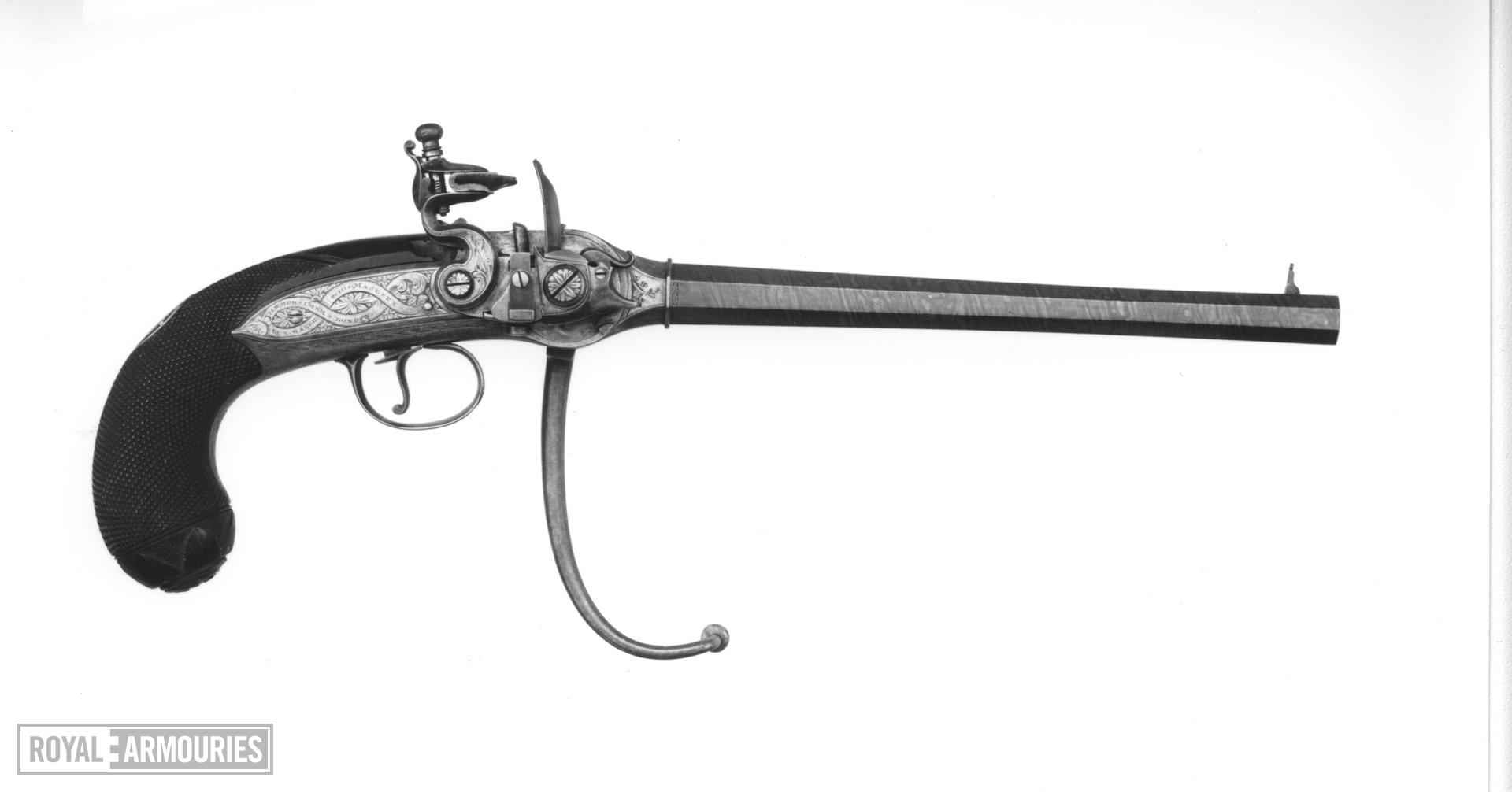 Flintlock breech-loading repeating pistol - Lorenzoni pistol Lorenzoni type seven-shot pistol by H.W. Mortimer Snr,