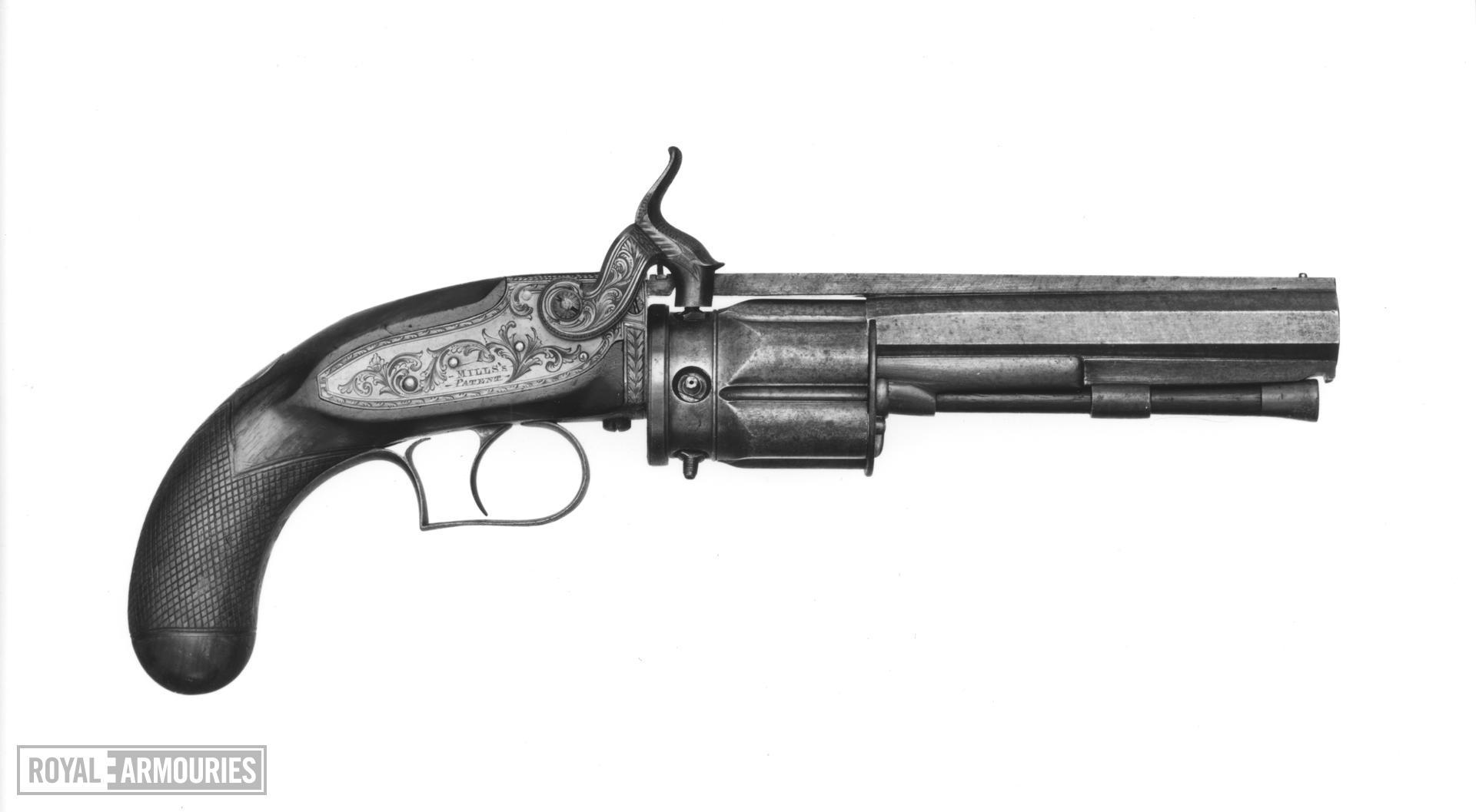 Percussion five-shot revolver - Mills's patent Collier revolver